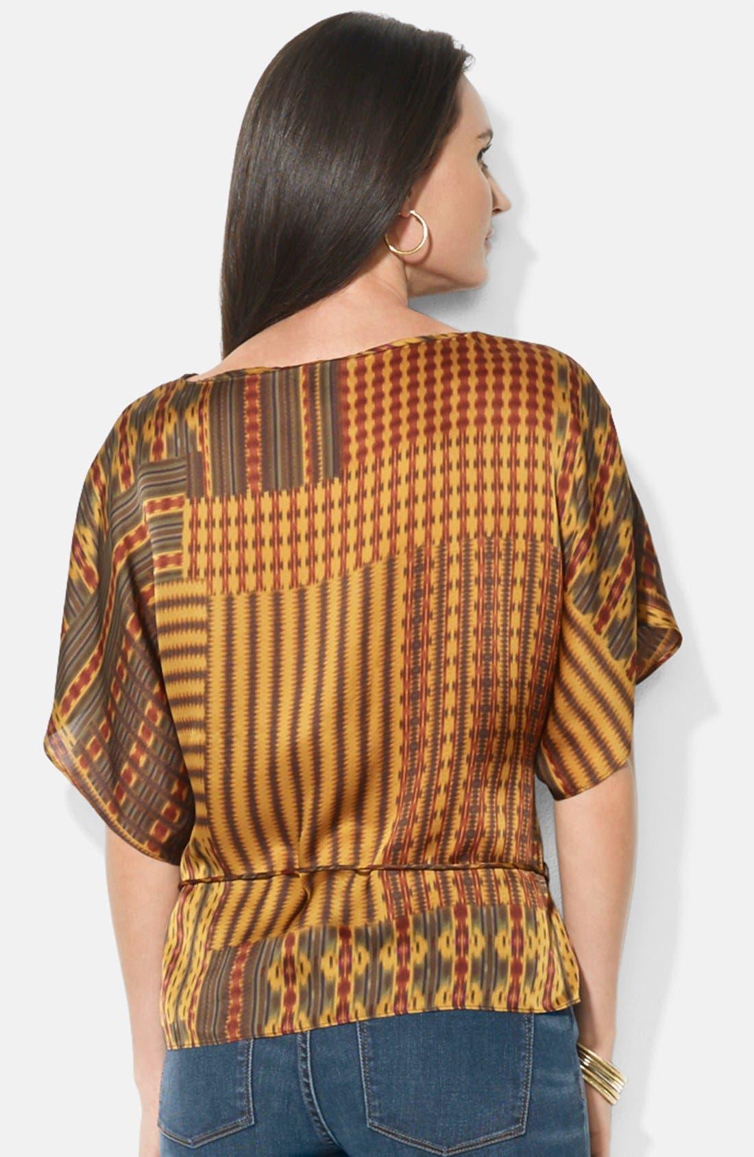 Alternate Image 2  - Lauren Ralph Lauren Patchwork Print Kimono Sleeve Silk Top