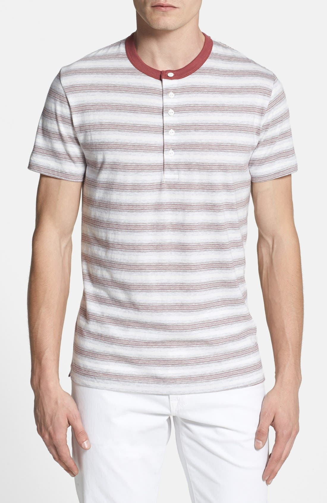 Main Image - French Connection 'Jeffrey's Stripe' Trim Fit Henley (Online Only)
