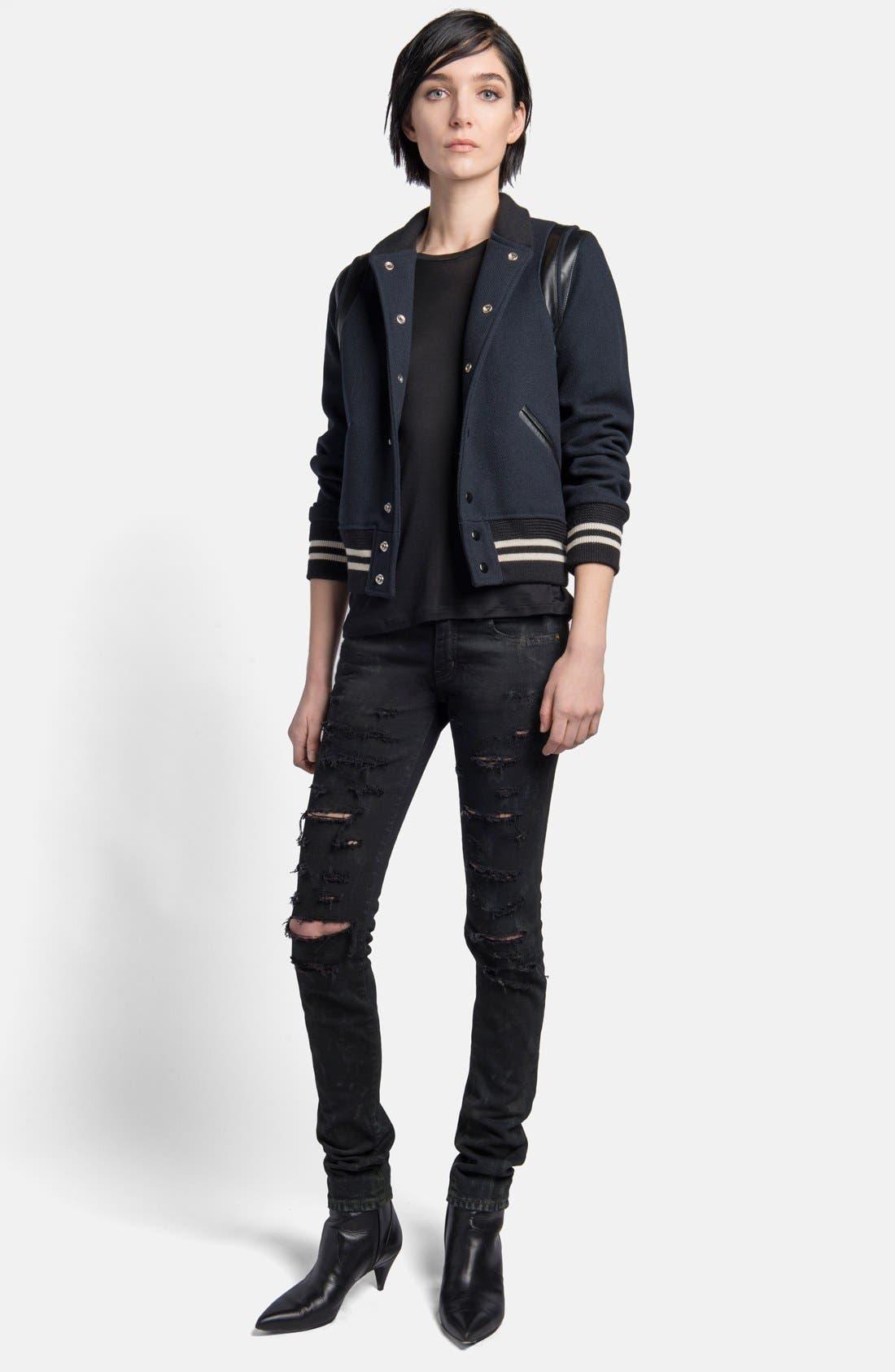 Alternate Image 3  - Saint Laurent 'Teddy' Leather Trim Bomber Jacket