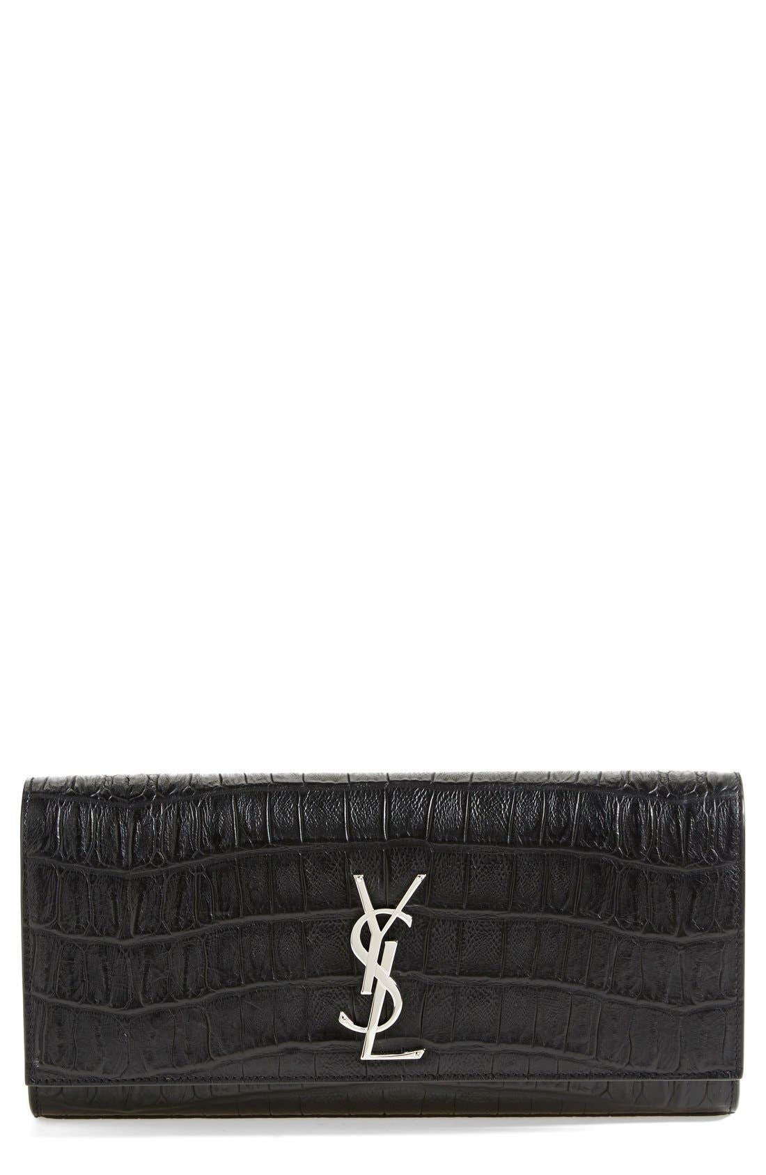 Alternate Image 1 Selected - Saint Laurent 'Cassandre' Croc Embossed Leather Clutch