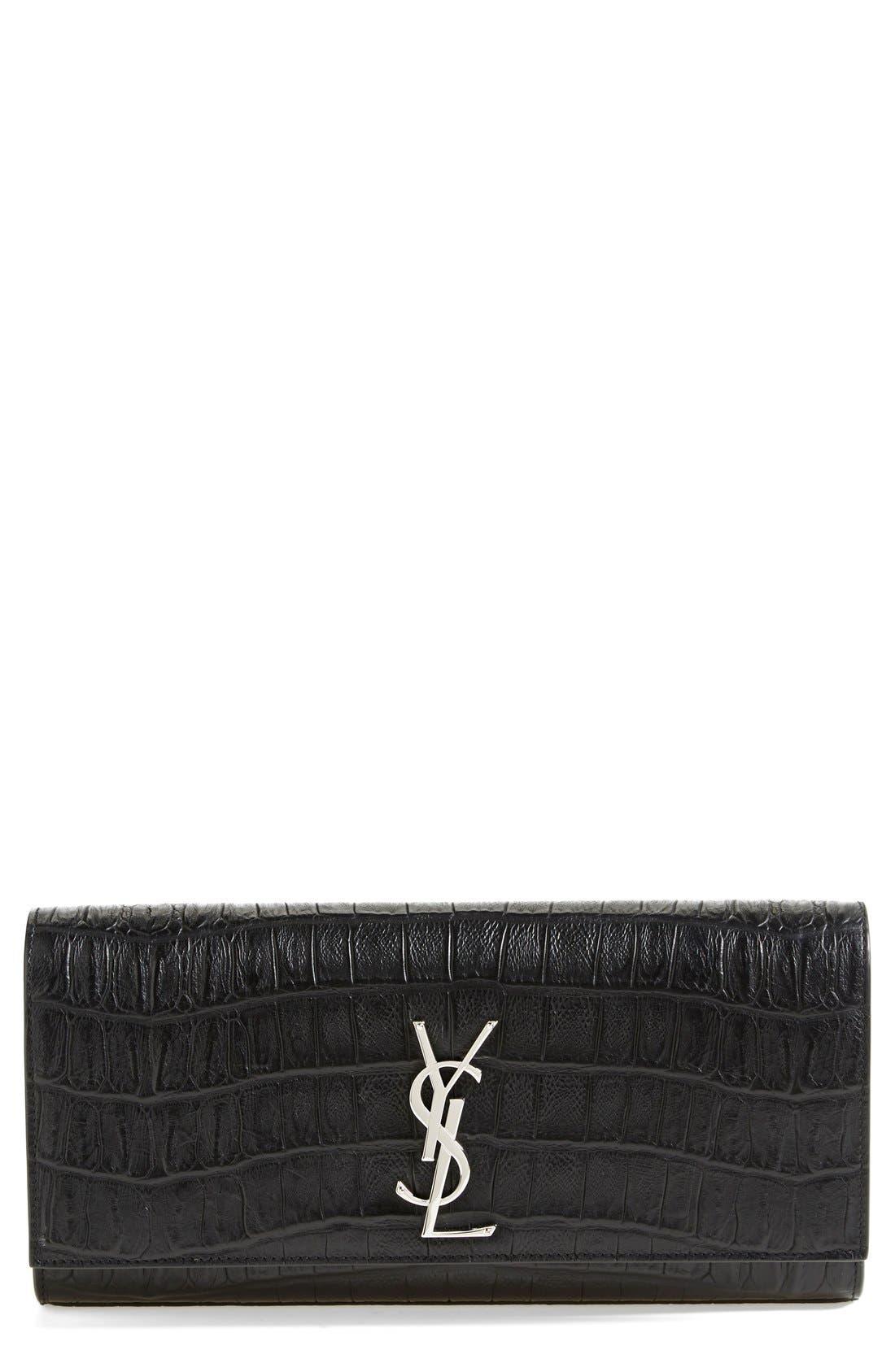 Main Image - Saint Laurent 'Cassandre' Croc Embossed Leather Clutch