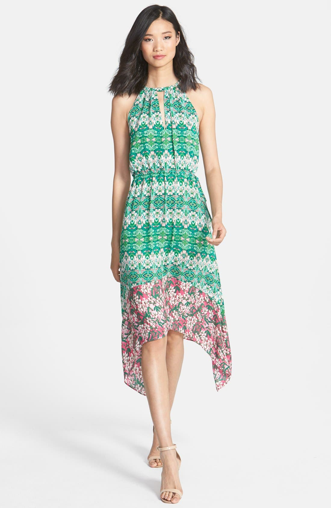 Main Image - BCBGMAXAZRIA 'Kellie' Print Shark Bite Hem Georgette Midi Dress