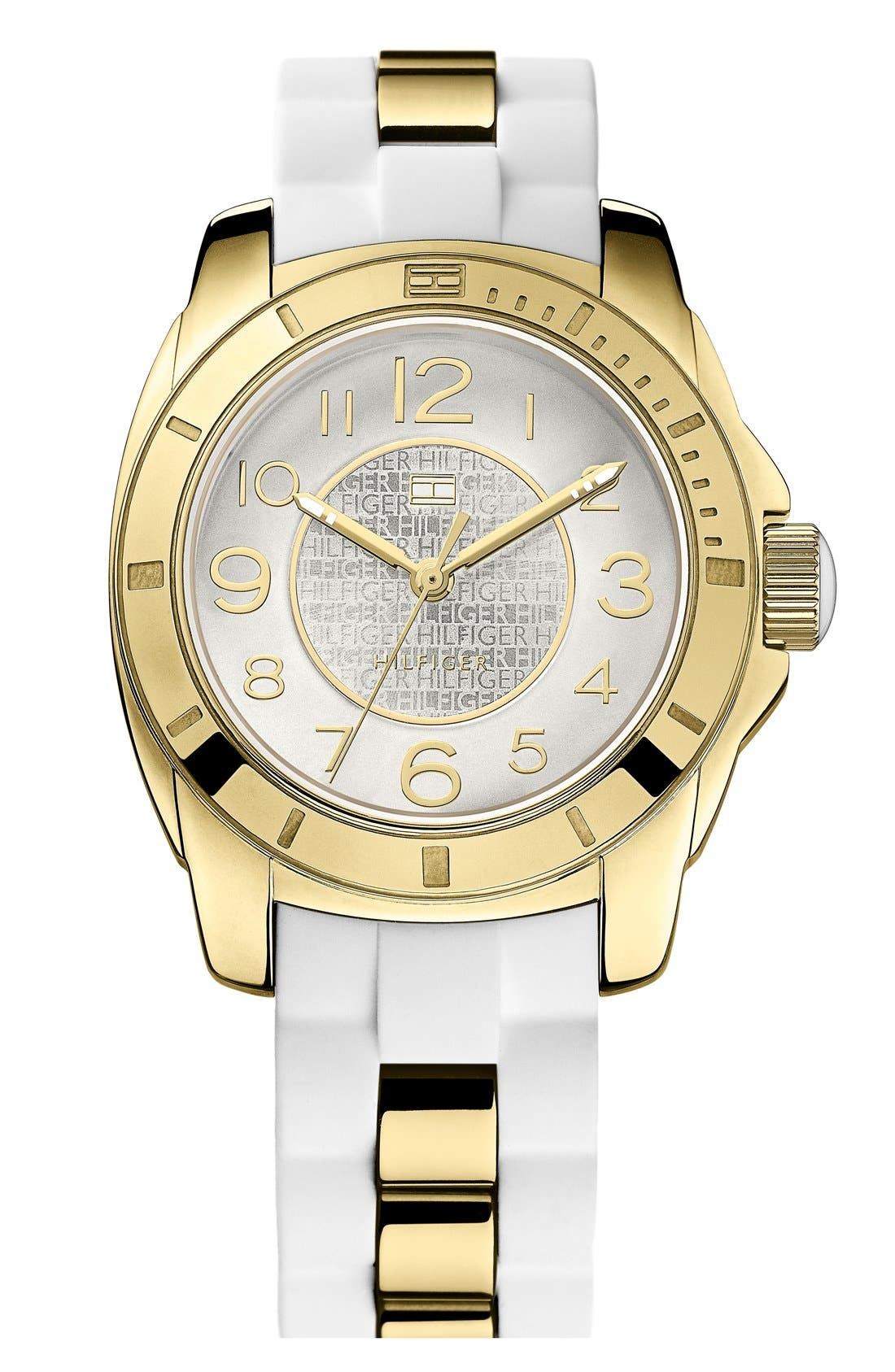 Alternate Image 1 Selected - Tommy Hilfiger Round Silicone Bracelet Watch, 38mm