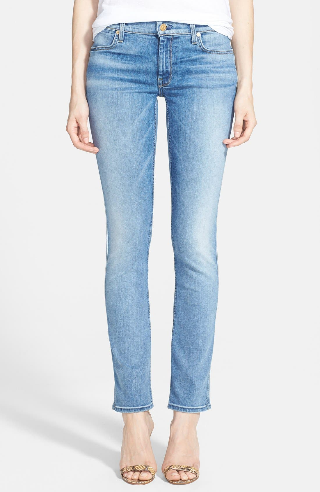 Alternate Image 1 Selected - 7 For All Mankind® 'Modern' Straight Leg Stretch Jeans (Super Sanded Blue)