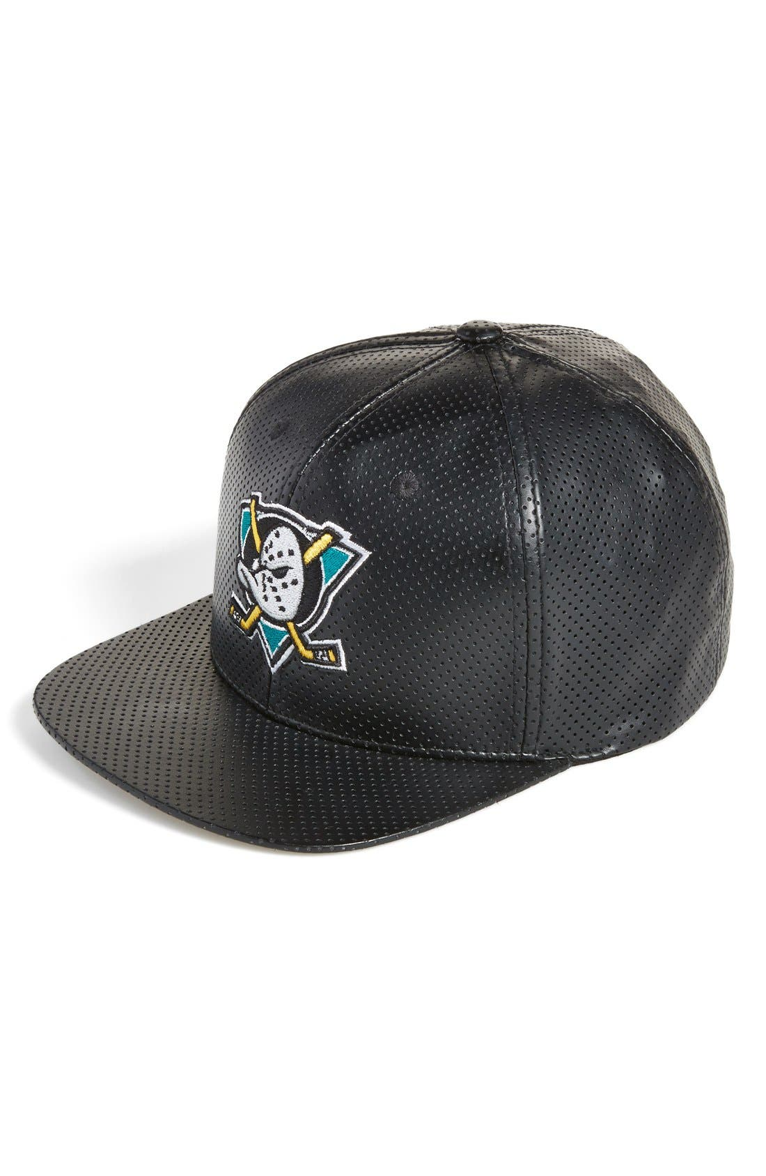 Main Image - American Needle 'Anaheim Mighty Ducks' Perforated Faux Leather Snapback Cap