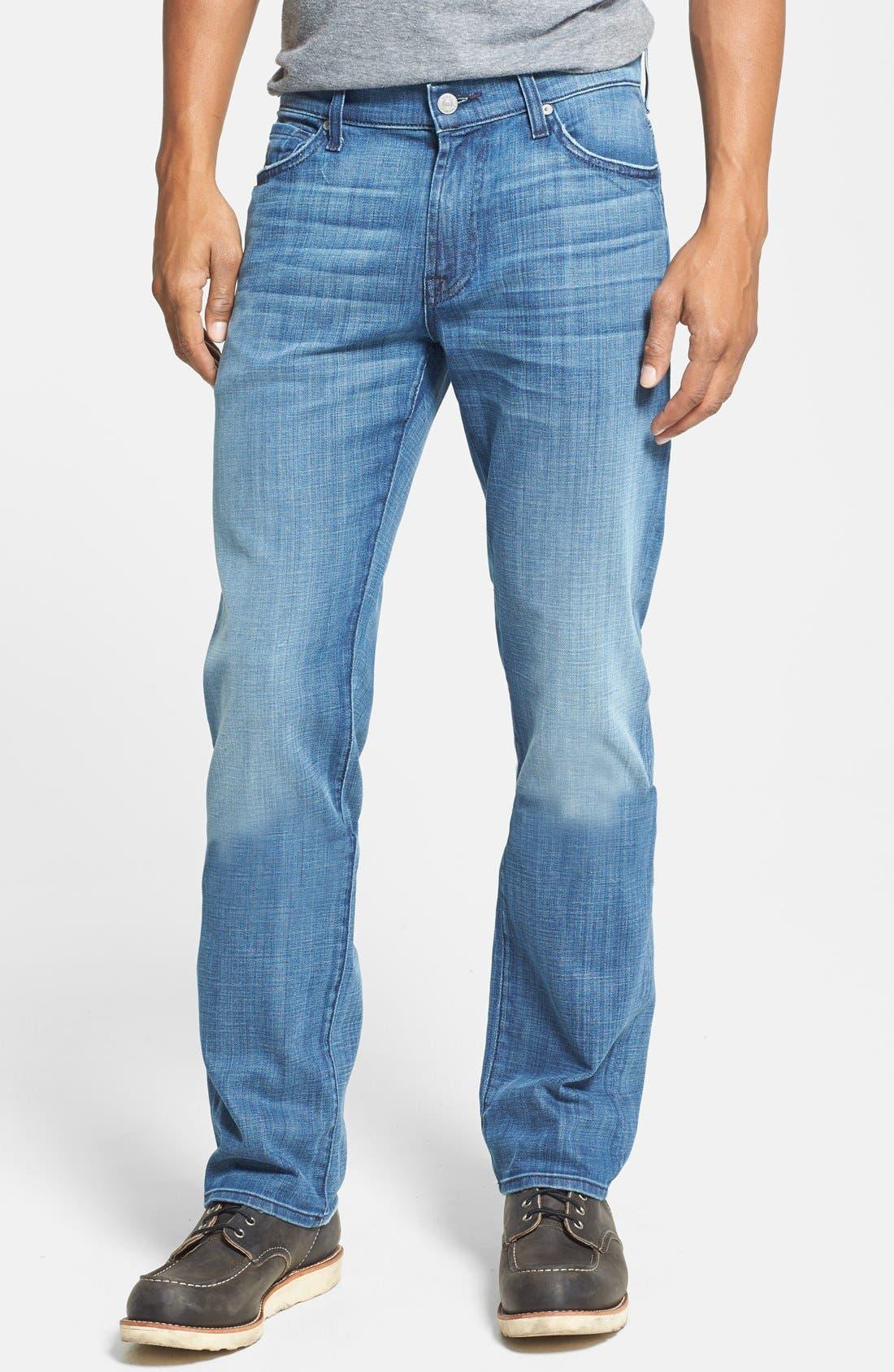 Alternate Image 1 Selected - 7 For All Mankind® 'Slimmy' Slim Straight Leg Jeans (Blue Stone)