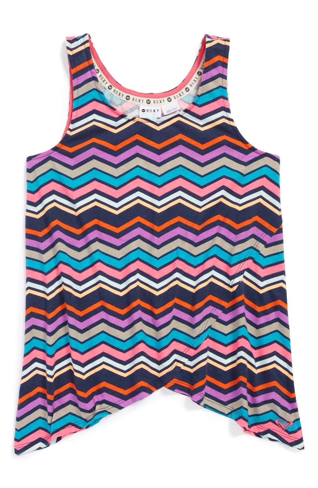 Alternate Image 1 Selected - Roxy Stripe Sleeveless Top (Big Girls)