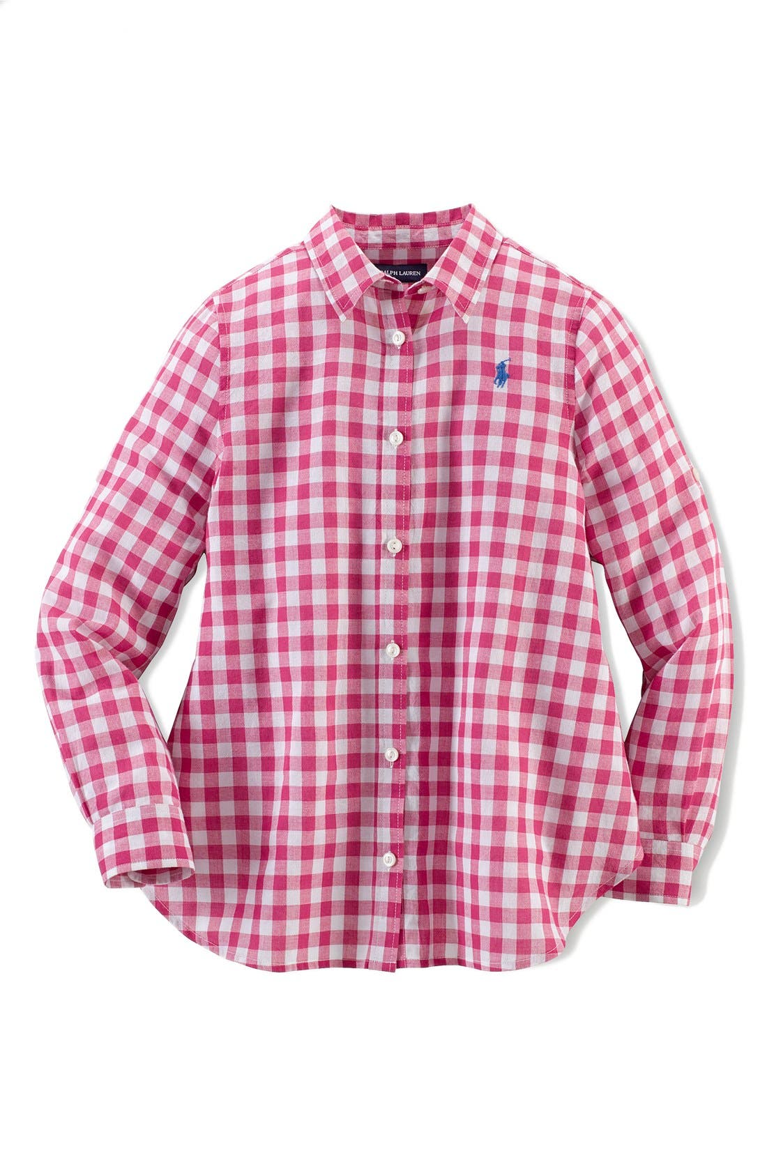 Alternate Image 1 Selected - Ralph Lauren Gingham Cotton Gauze Shirt (Big Girls)