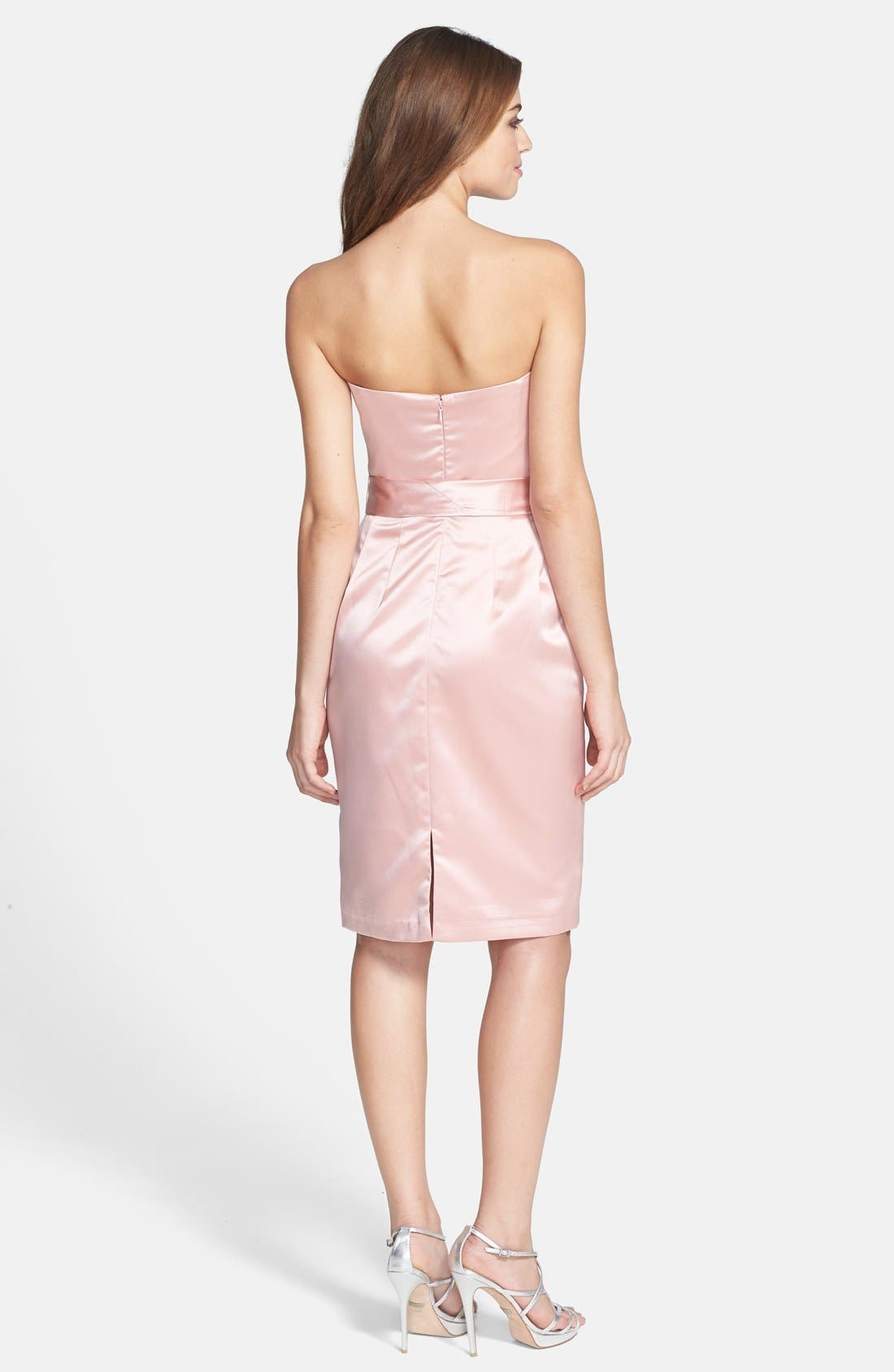 Alternate Image 2  - Dessy Collection Cross Draped Strapless Satin Sheath Dress