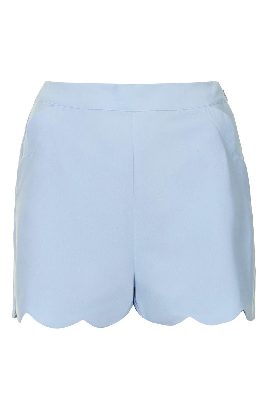 Alternate Image 3  - Topshop Scallop Hem Crepe Shorts