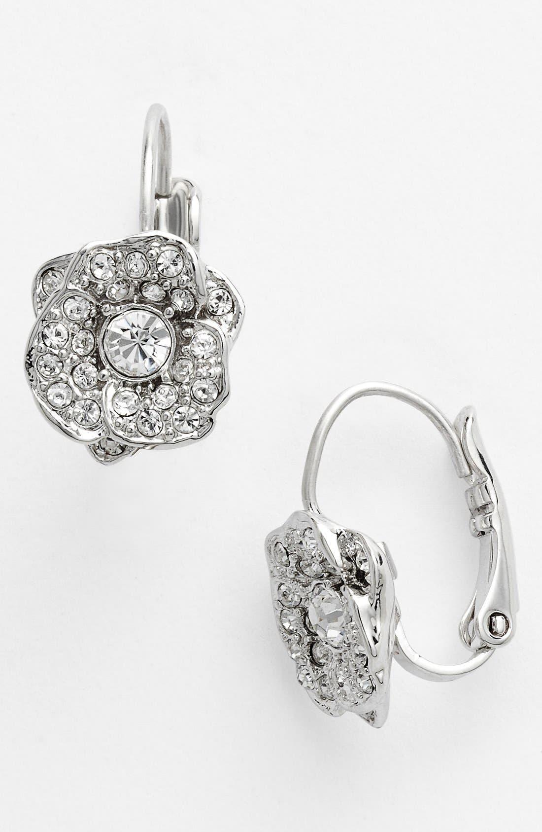 Main Image - kate spade new york 'rose garden' pavé flower drop earrings