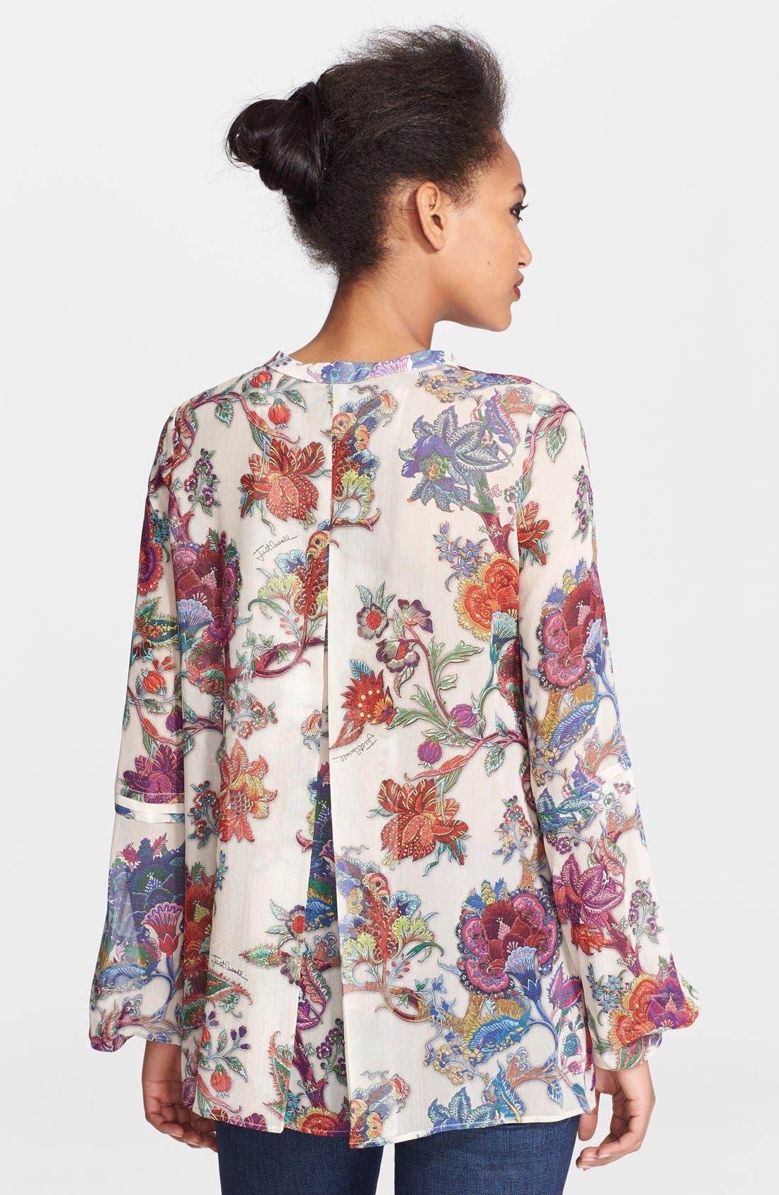 Alternate Image 2  - Just Cavalli Floral Print Silk Blouse