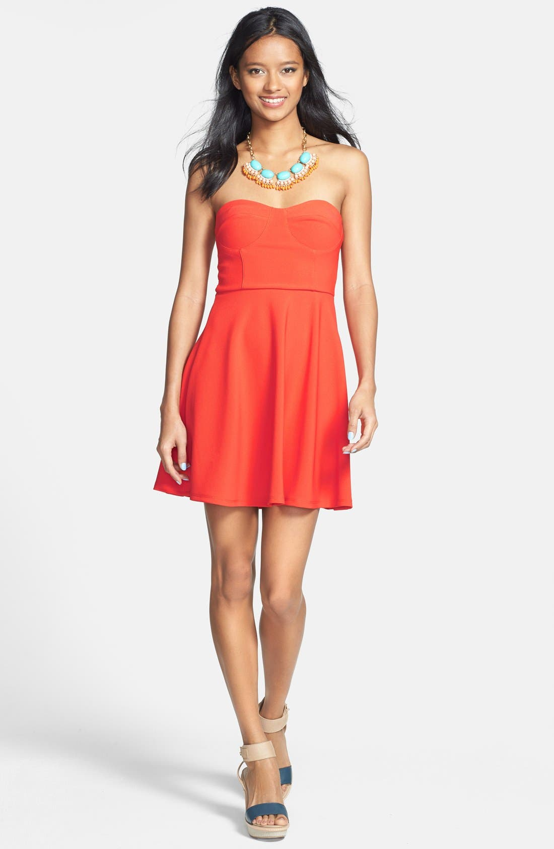 Main Image - Lush Strapless Bustier Stretch Knit Dress (Juniors)