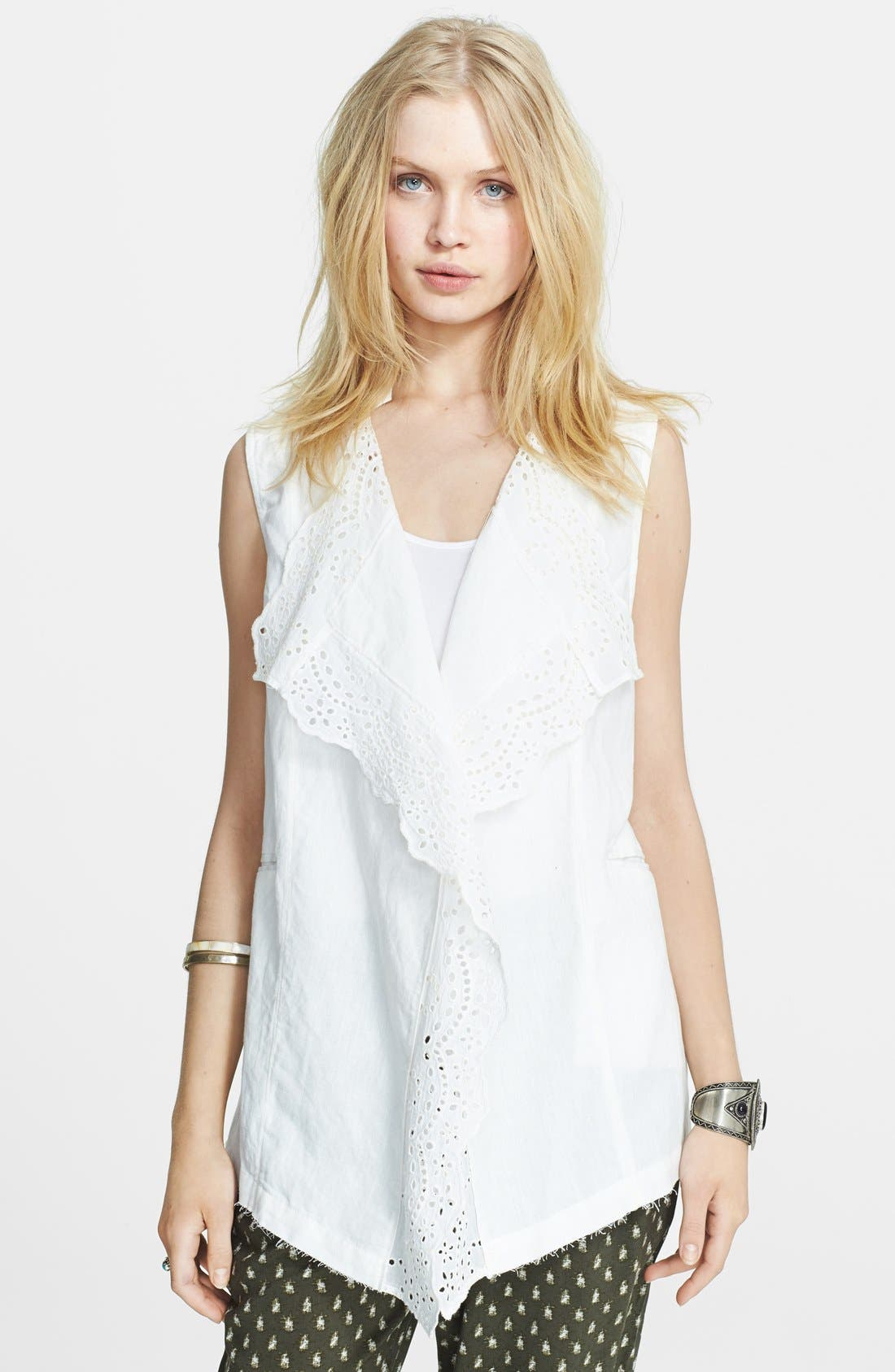 Main Image - Free People Linen Blend High/Low Waistcoat