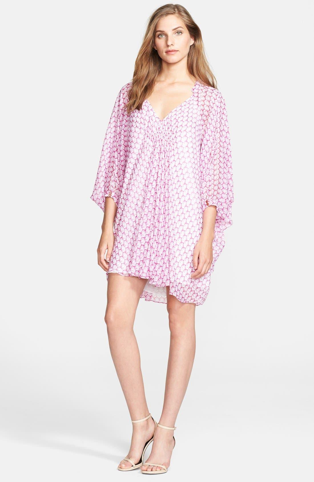 Main Image - Diane von Furstenberg 'Fleurette' Stretch Silk Tunic Dress