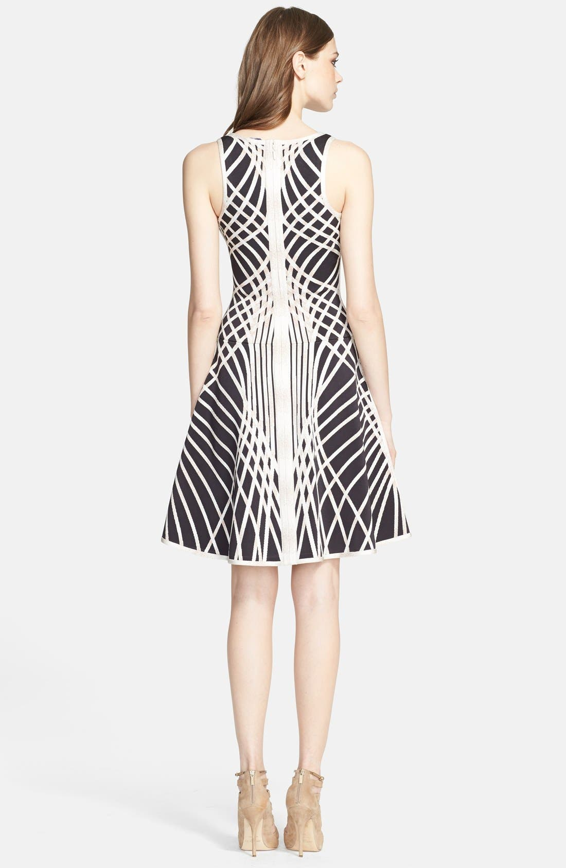 Alternate Image 2  - Herve Leger Contrast Graphic Pattern Fit & Flare Dress