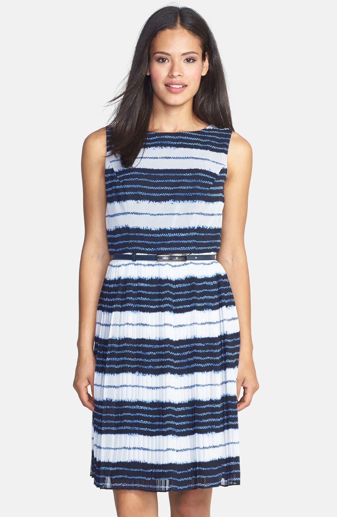 Main Image - Adrianna Papell Batik Stripe Print Chiffon Dress