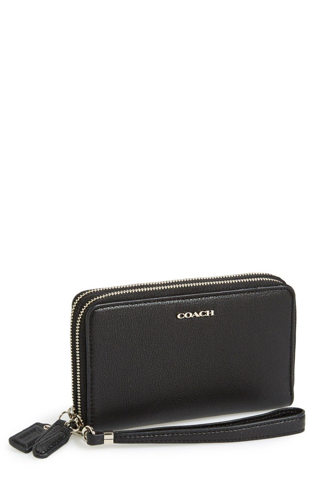 Alternate Image 1 Selected - COACH 'Madison' Zip Around Leather Phone Wristlet