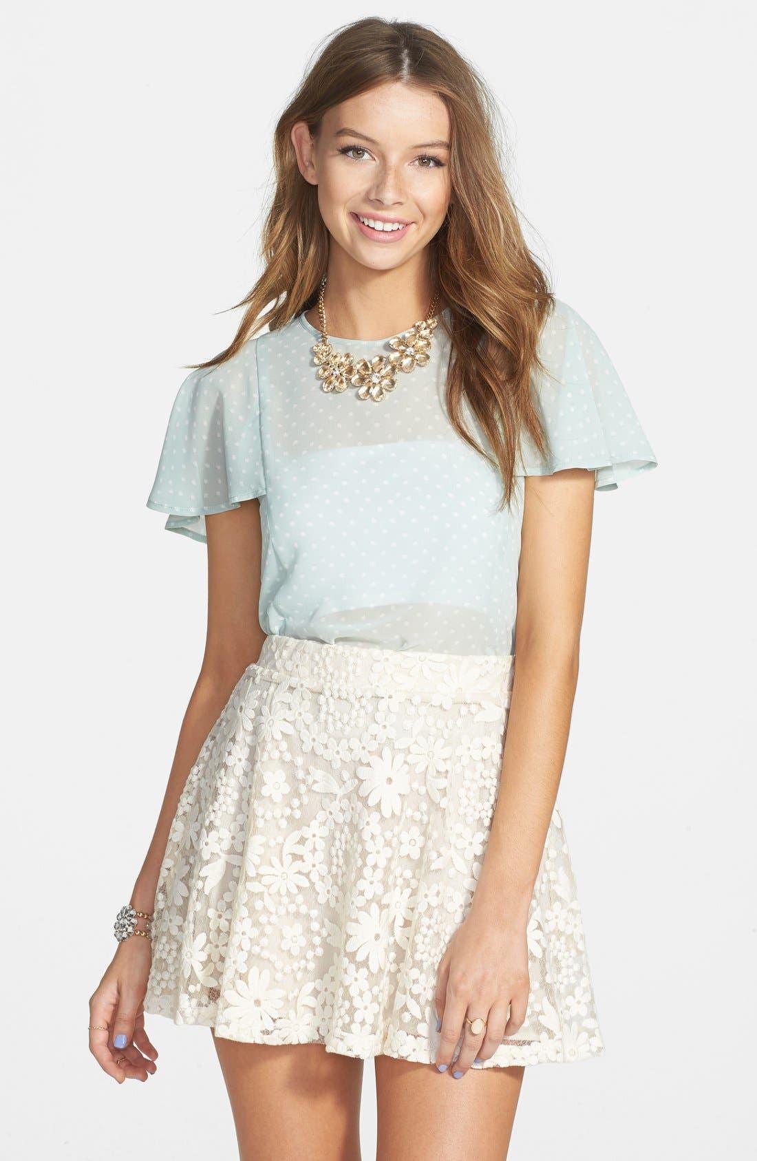 Alternate Image 1 Selected - PPLA Lace Skater Skirt (Juniors)