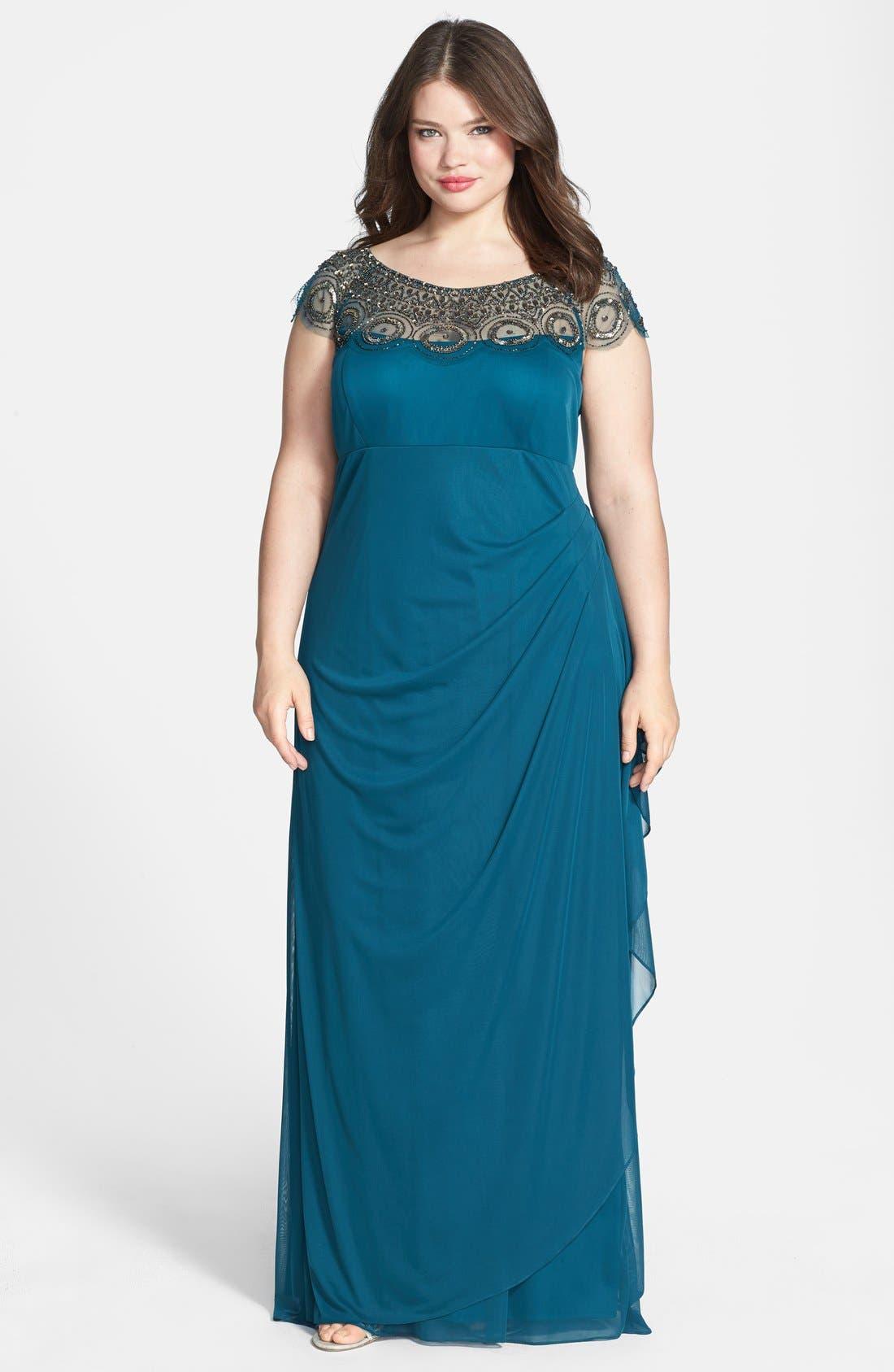 Main Image - Xscape Embellished Yoke Matte Jersey Gown (Plus Size)
