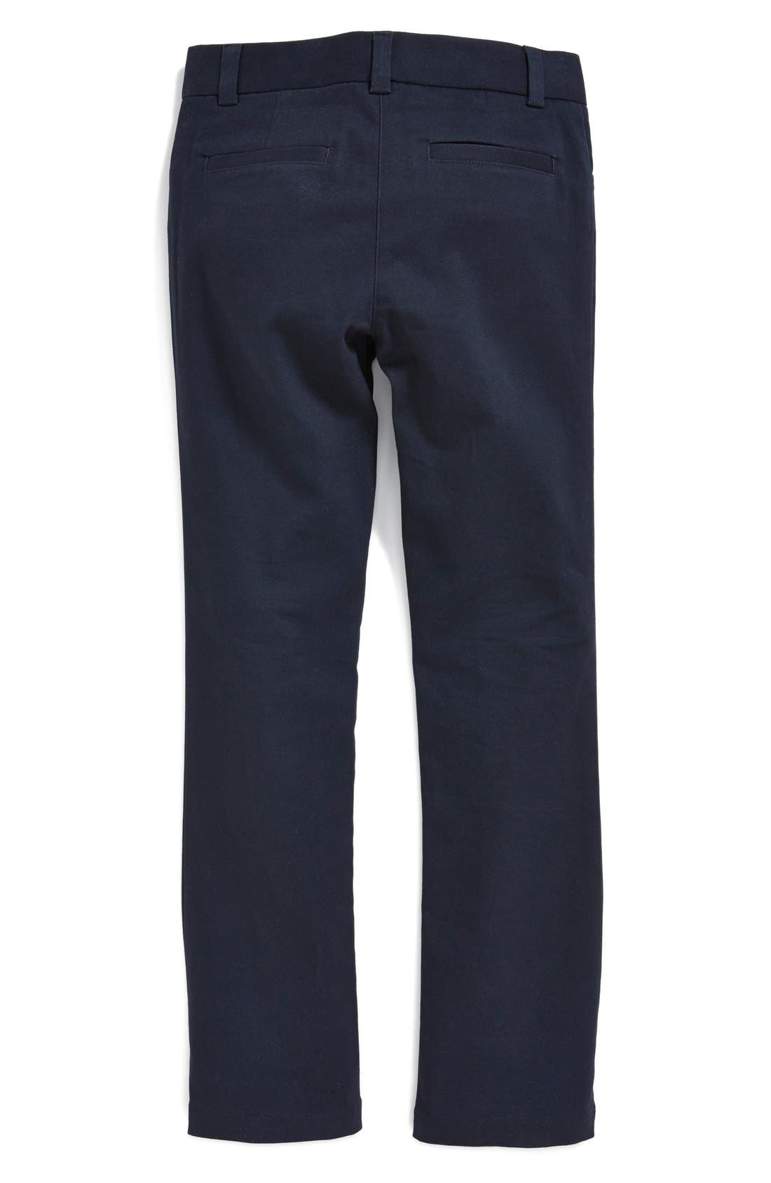 Alternate Image 2  - Nordstrom Straight Fit Stretch Cotton Pants (Little Girls & Big Girls) (Online Only)