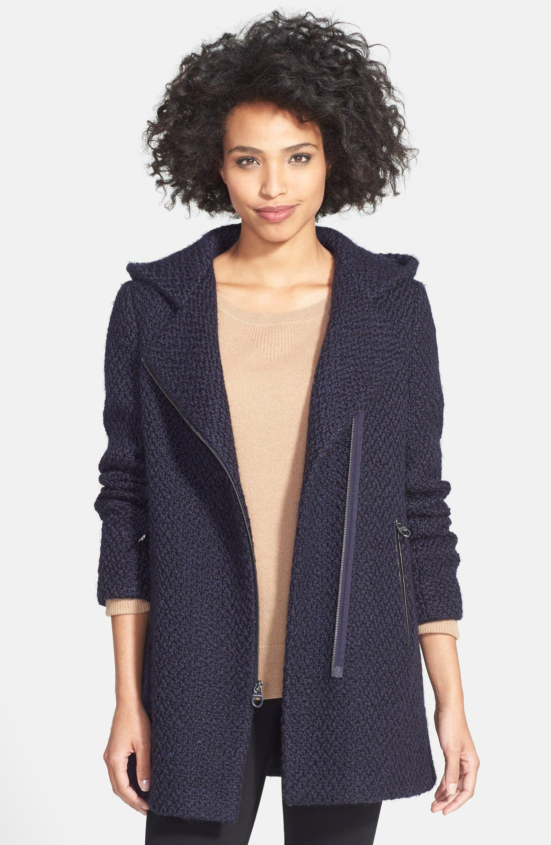 Alternate Image 2  - Calvin Klein Hooded Asymmetric Zip Bouclé Coat