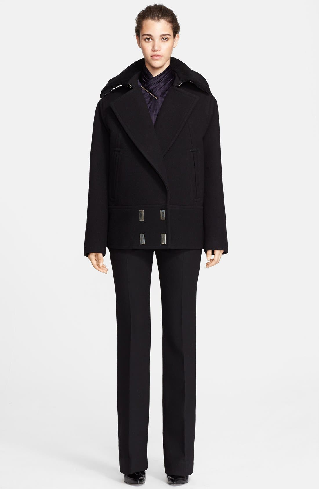 Alternate Image 3  - Jason Wu Felted Wool Blend Coat with Genuine Shearling Collar