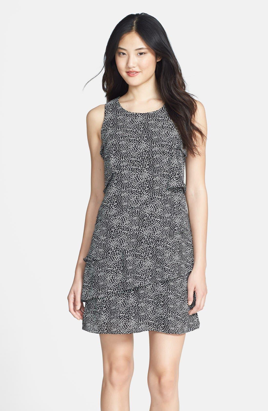 Main Image - Eliza J Tiered Print Shift Dress (Petite)