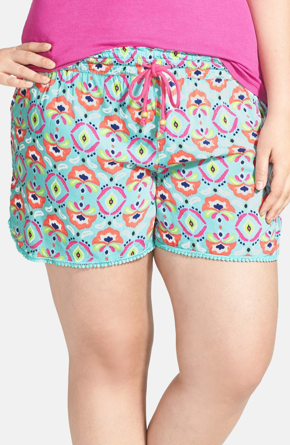 Alternate Image 1 Selected - PJ Salvage 'Challe Chic' Crochet Trim Shorts (Plus Size) (Nordstrom Online Exclusive)