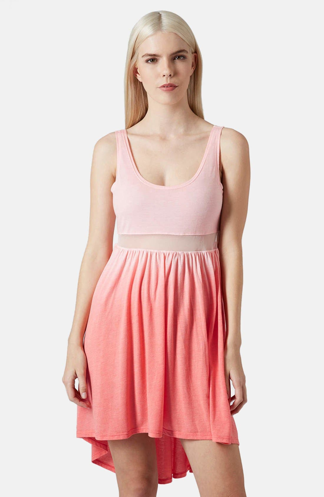 Alternate Image 1 Selected - Topshop Mesh Inset Ombré Dress