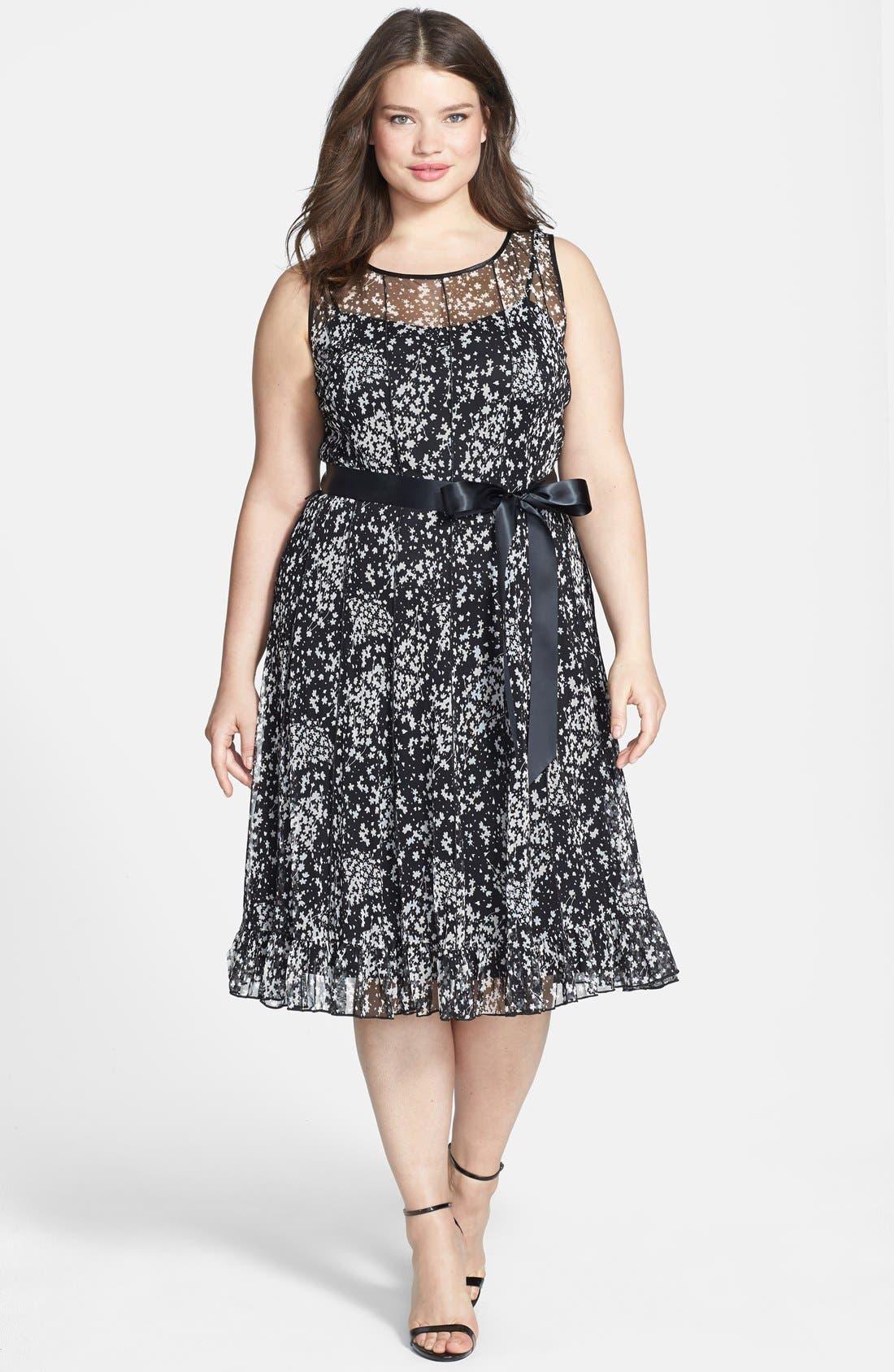 Main Image - Jessica Howard Print Seamed Dress (Plus Size)