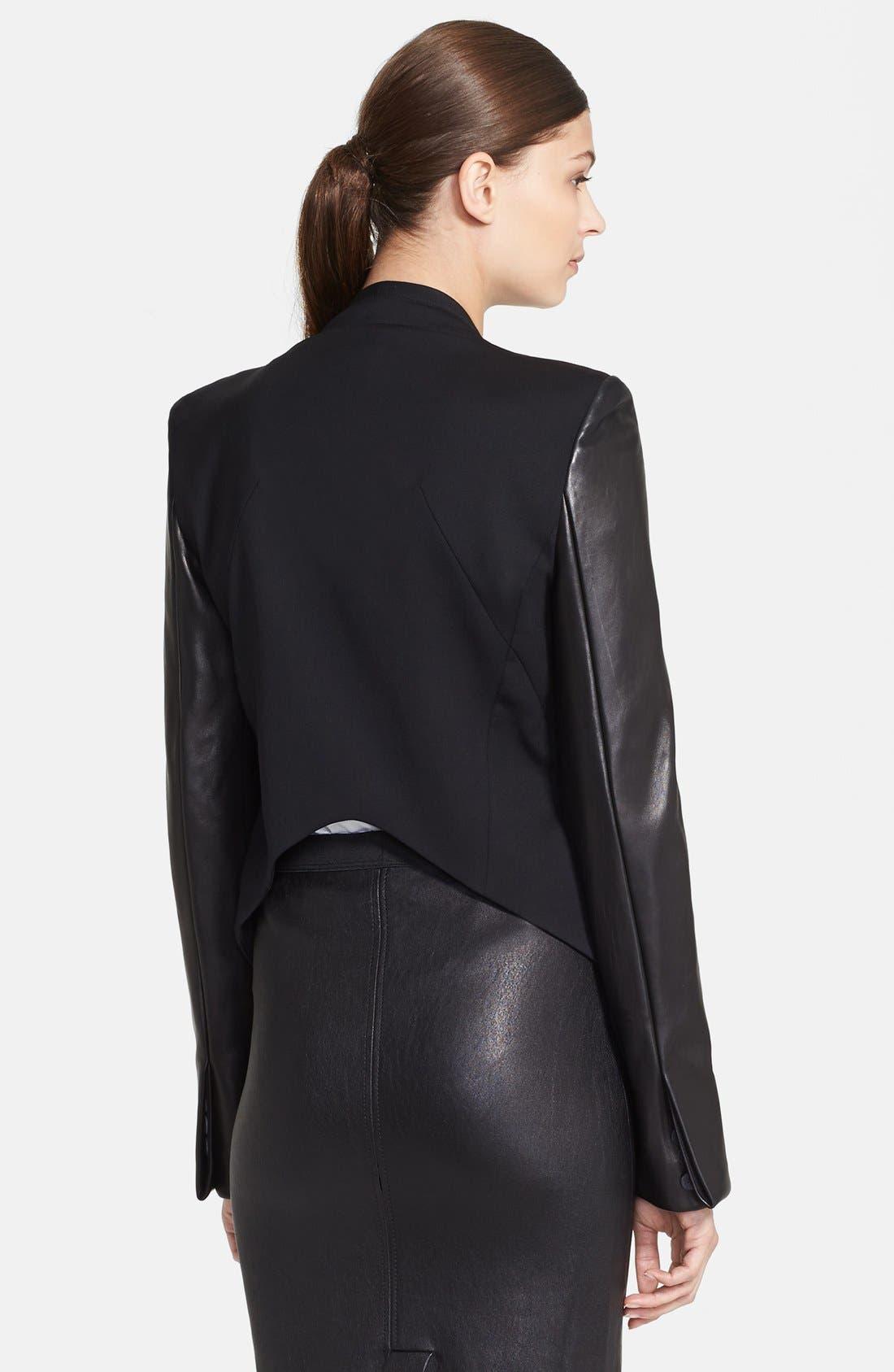 Alternate Image 2  - Helmut Lang 'Smoking' Leather Sleeve Tuxedo Jacket