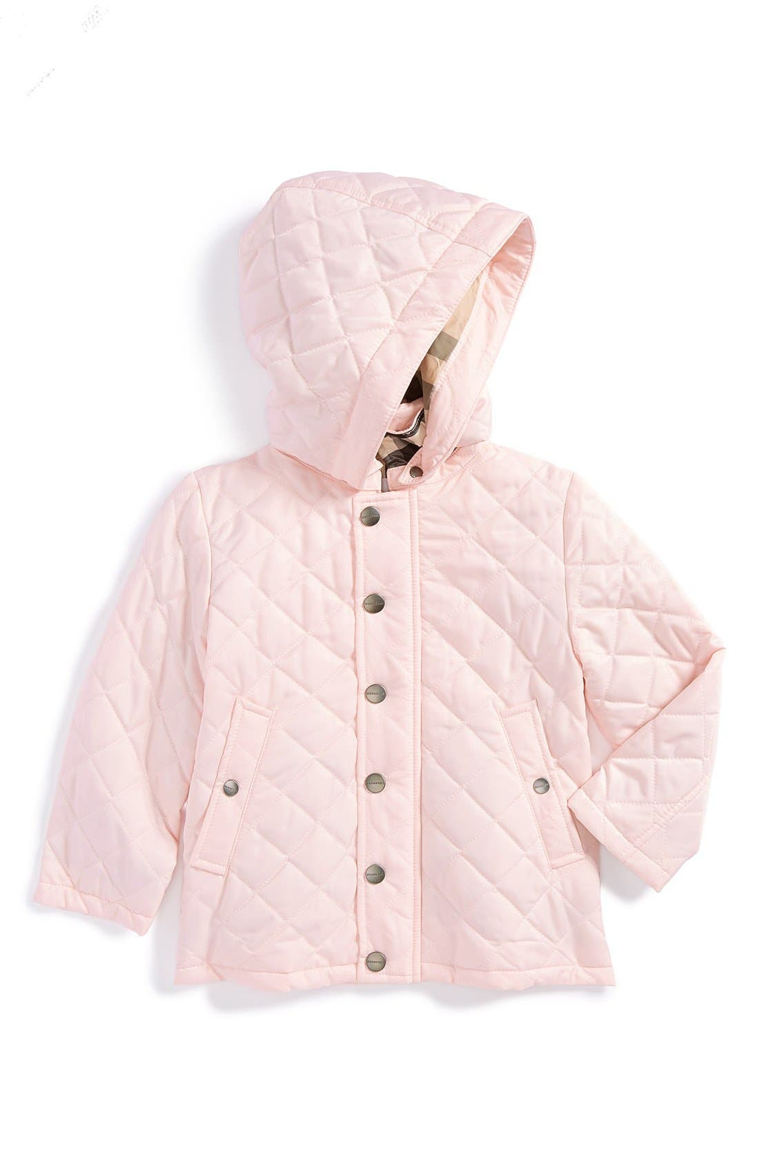 Main Image - Burberry Hooded Quilted Jacket (Baby Girls)