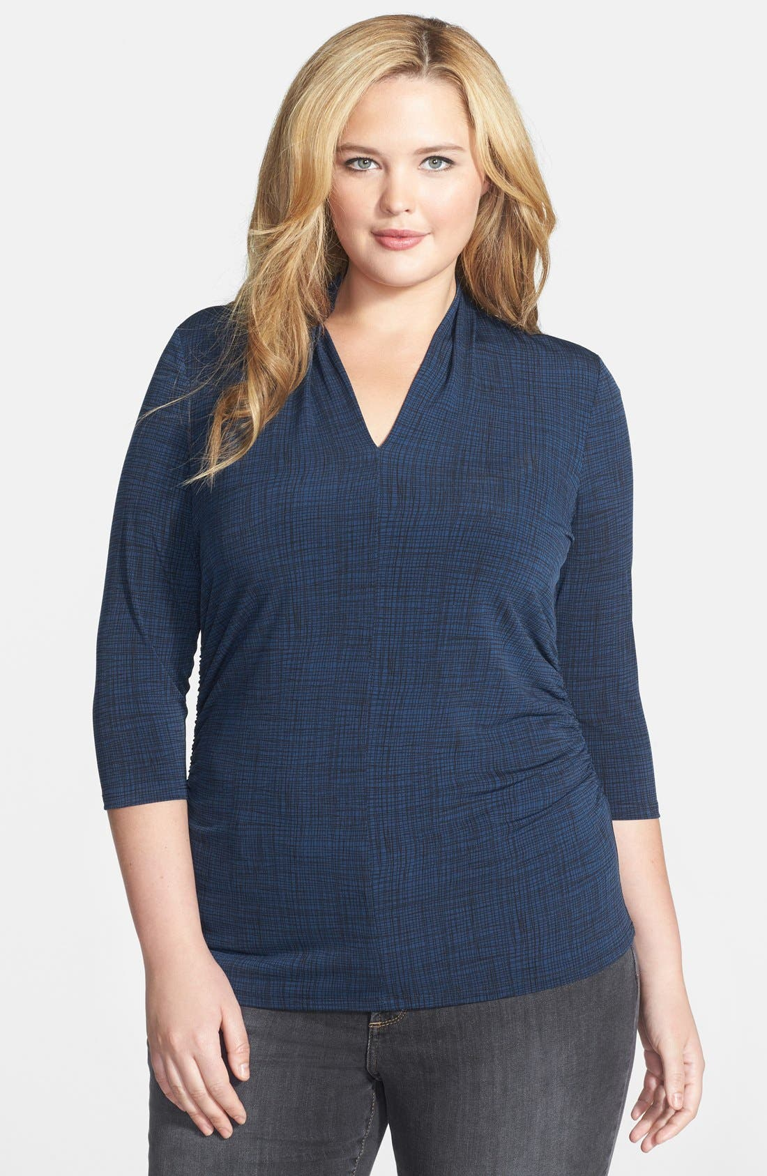 Main Image - Vince Camuto Crosshatch Print V-Neck Top (Plus Size)