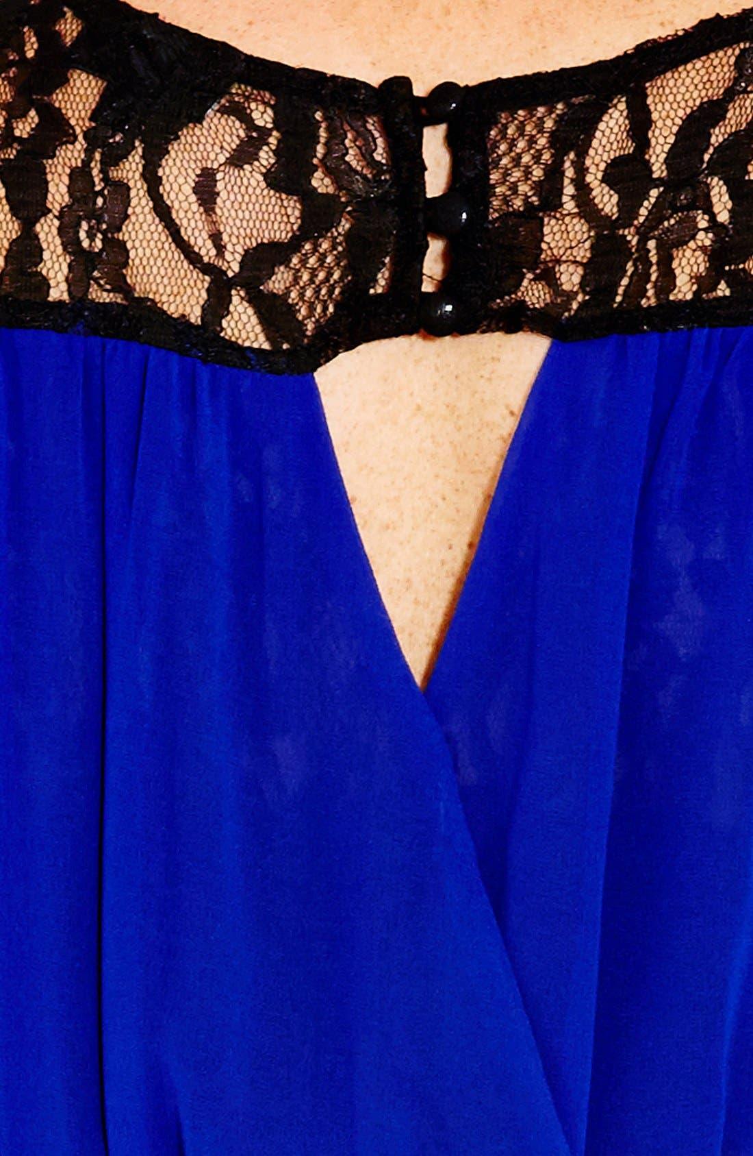 Alternate Image 4  - City Chic Chiffon & Lace Keyhole Dress (Plus Size)
