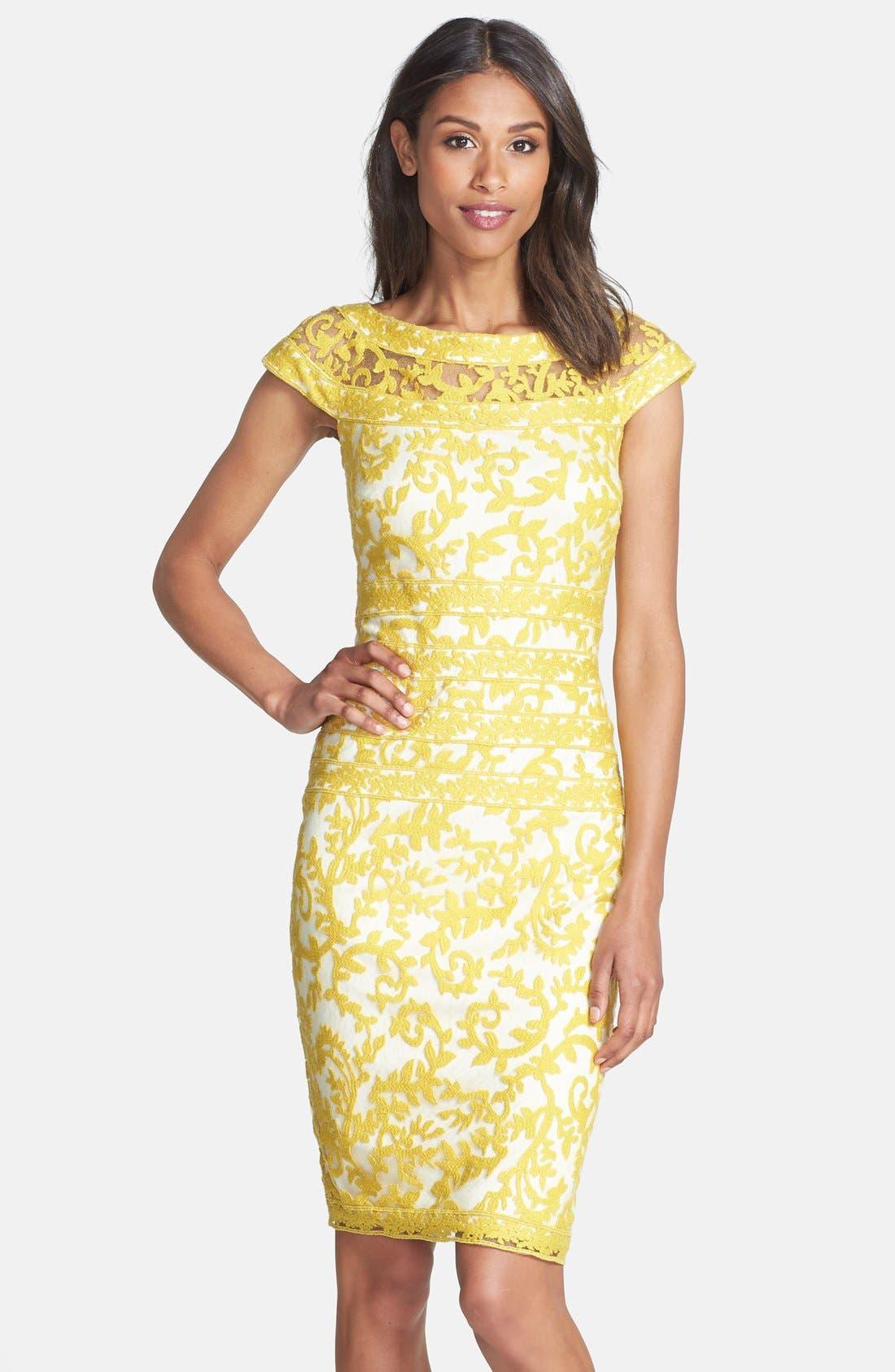 Alternate Image 1 Selected - Tadashi Shoji Embroidered Lace Sheath Dress (Regular & Petite)
