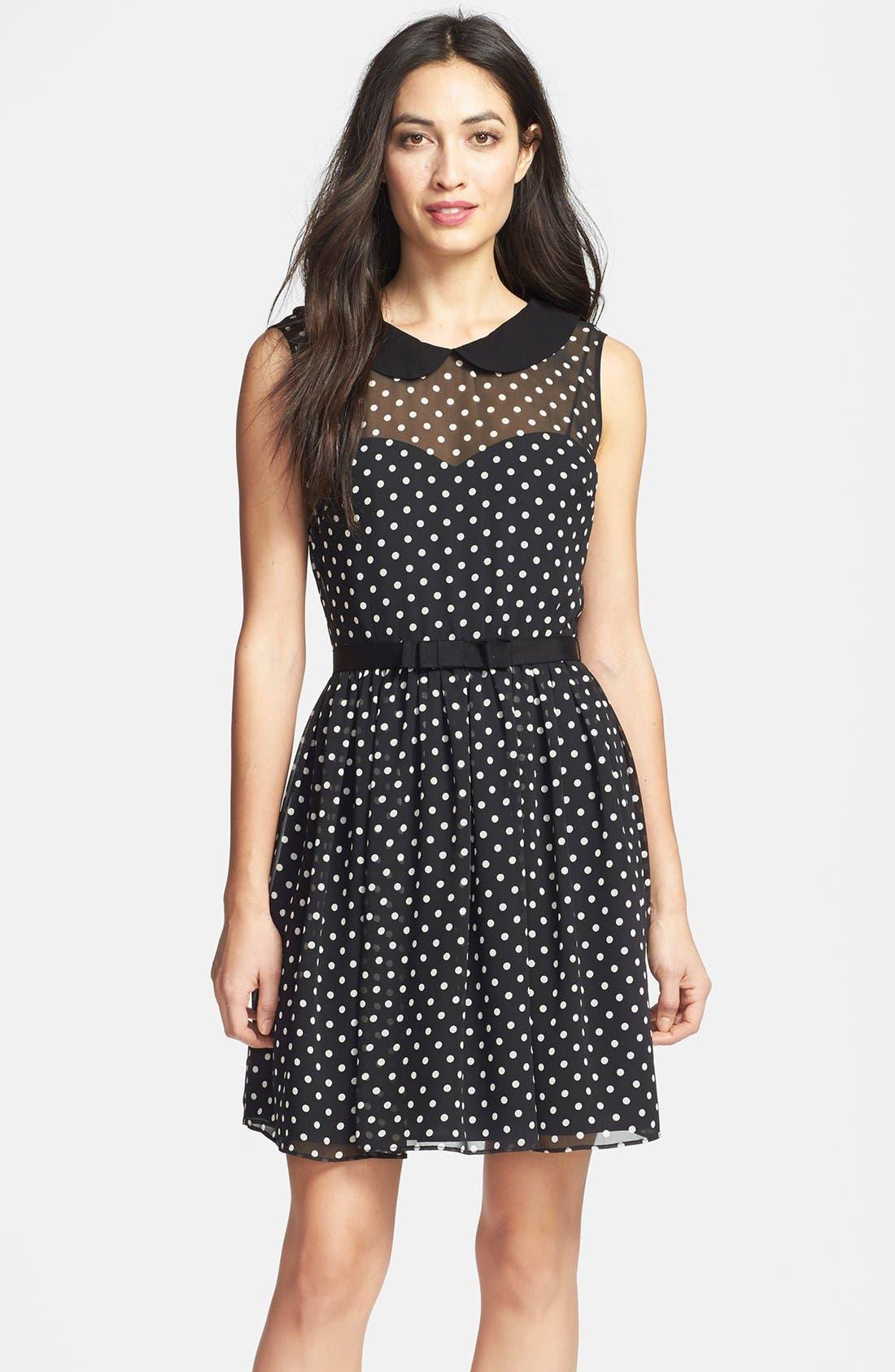 Main Image - Betsey Johnson Peter Pan Collar Dot Fit & Flare Dress