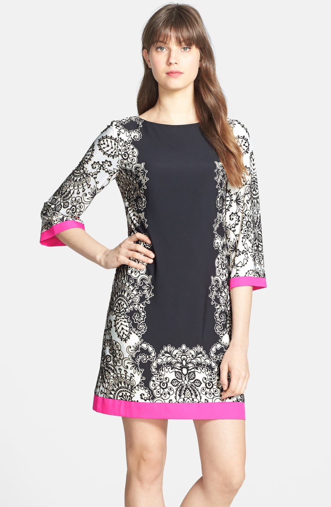 Main Image - Eliza J Border Print Shift Dress