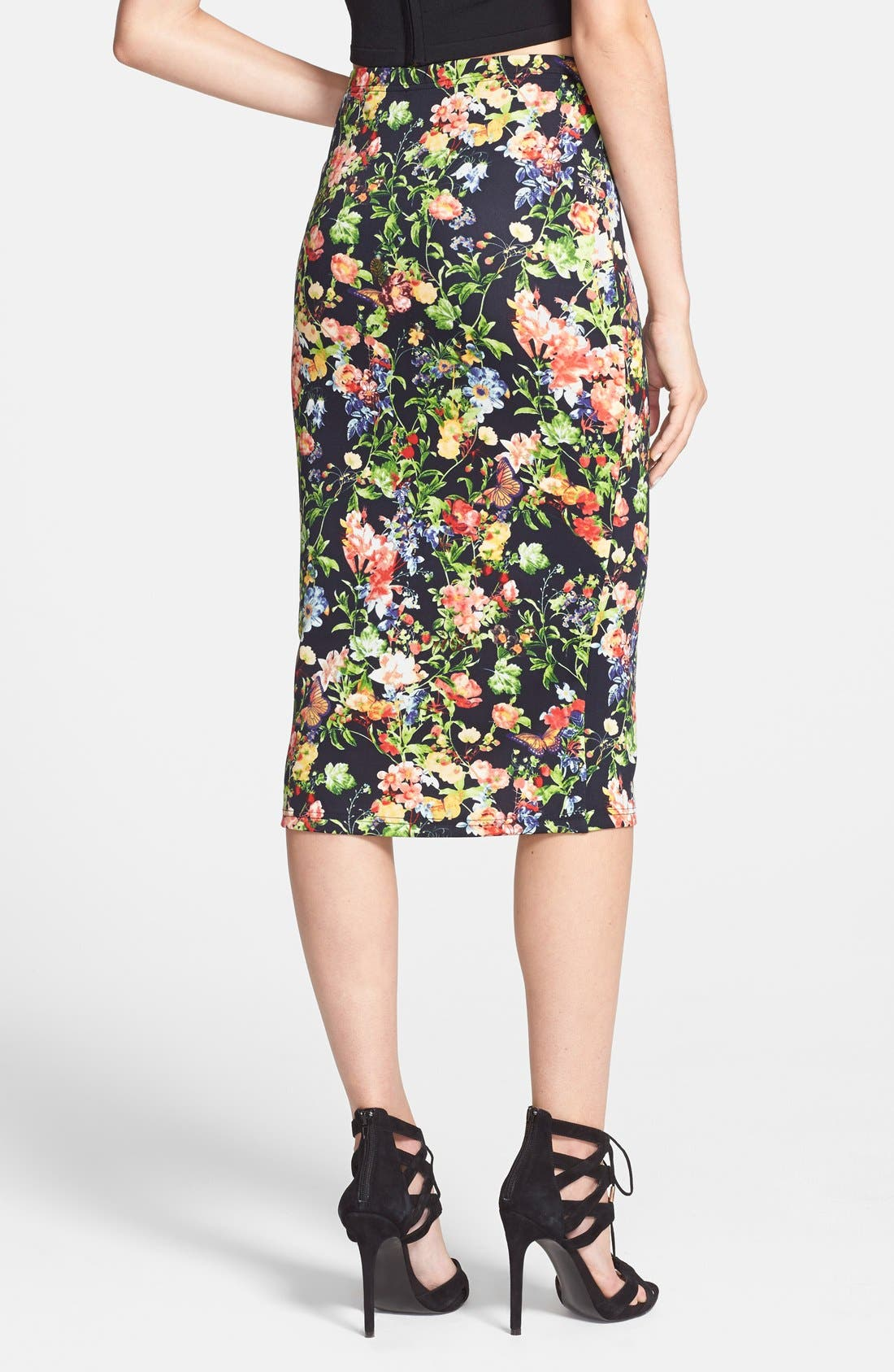 Alternate Image 2  - Glamorous Floral Scuba Midi Skirt