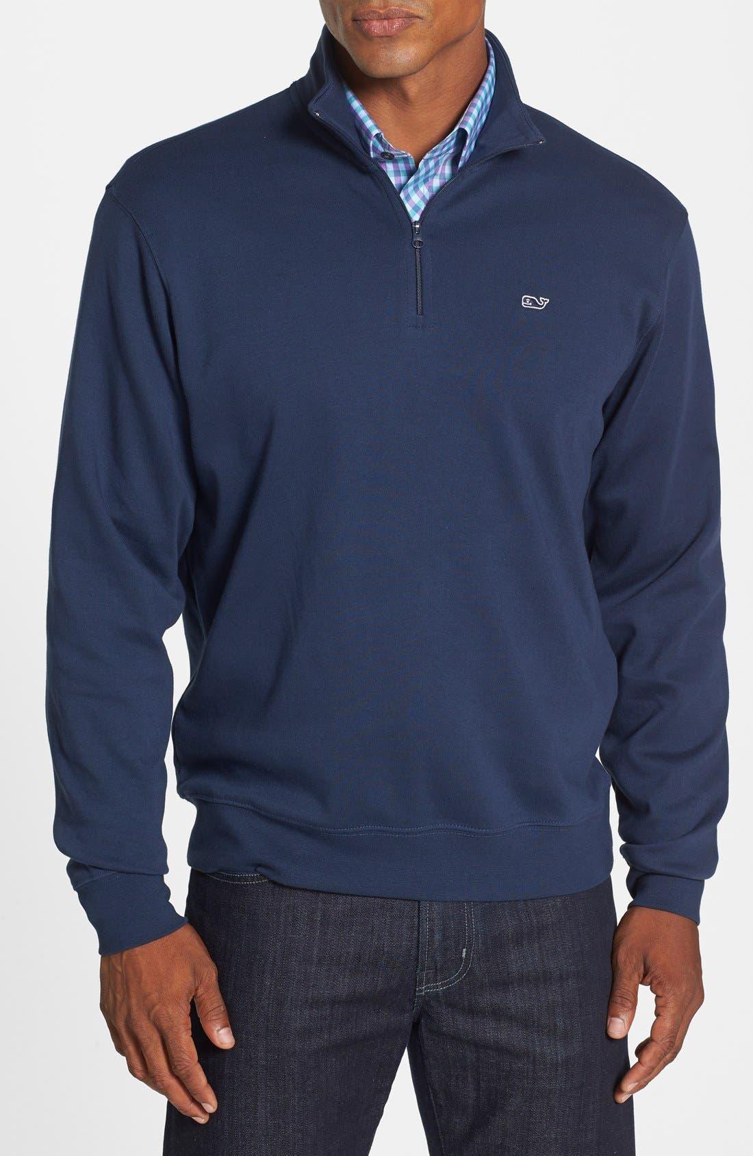 Alternate Image 1 Selected - Vineyard Vines Quarter Zip Cotton Jersey Sweatshirt
