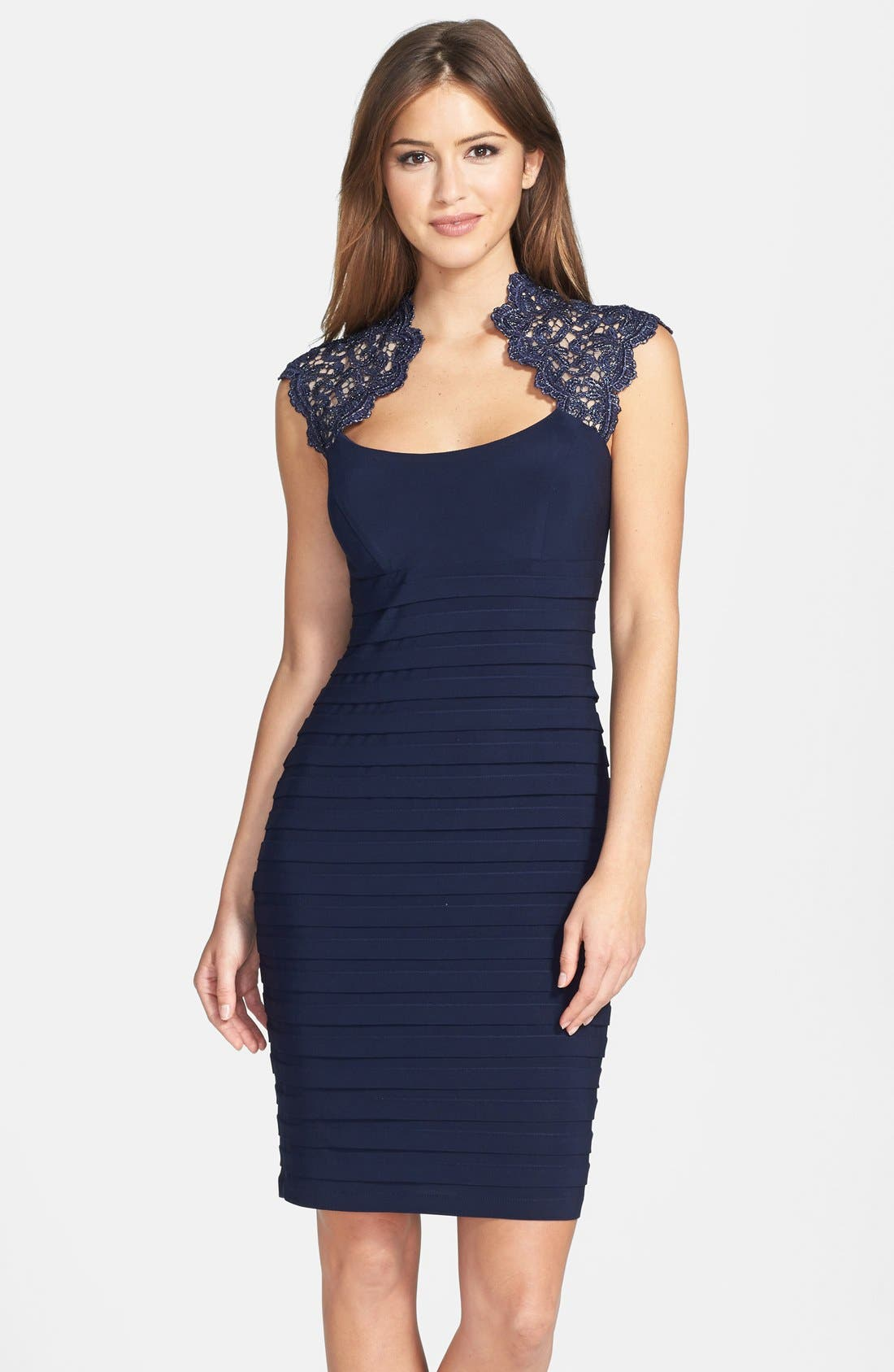 Main Image - Xscape Lace Cap Sleeve Jersey Body-Con Dress