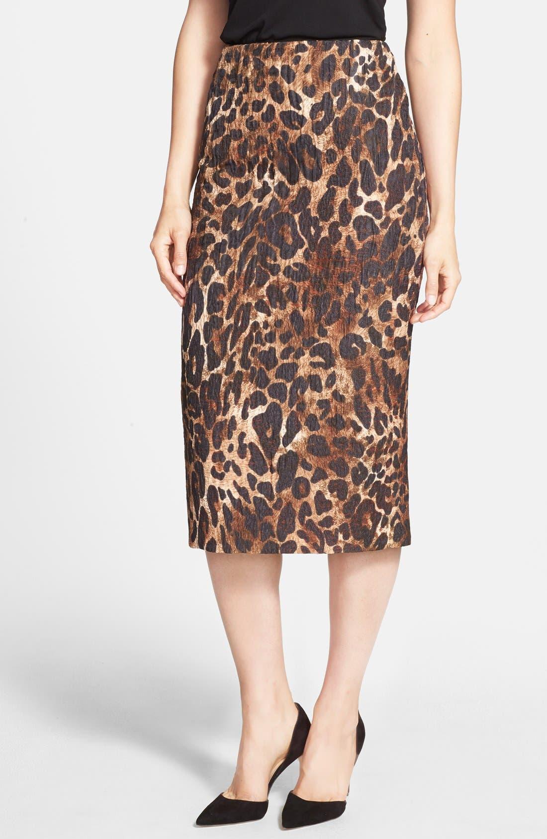 Alternate Image 1 Selected - Lafayette 148 New York 'Priscilla' Leopard Print Midi Skirt