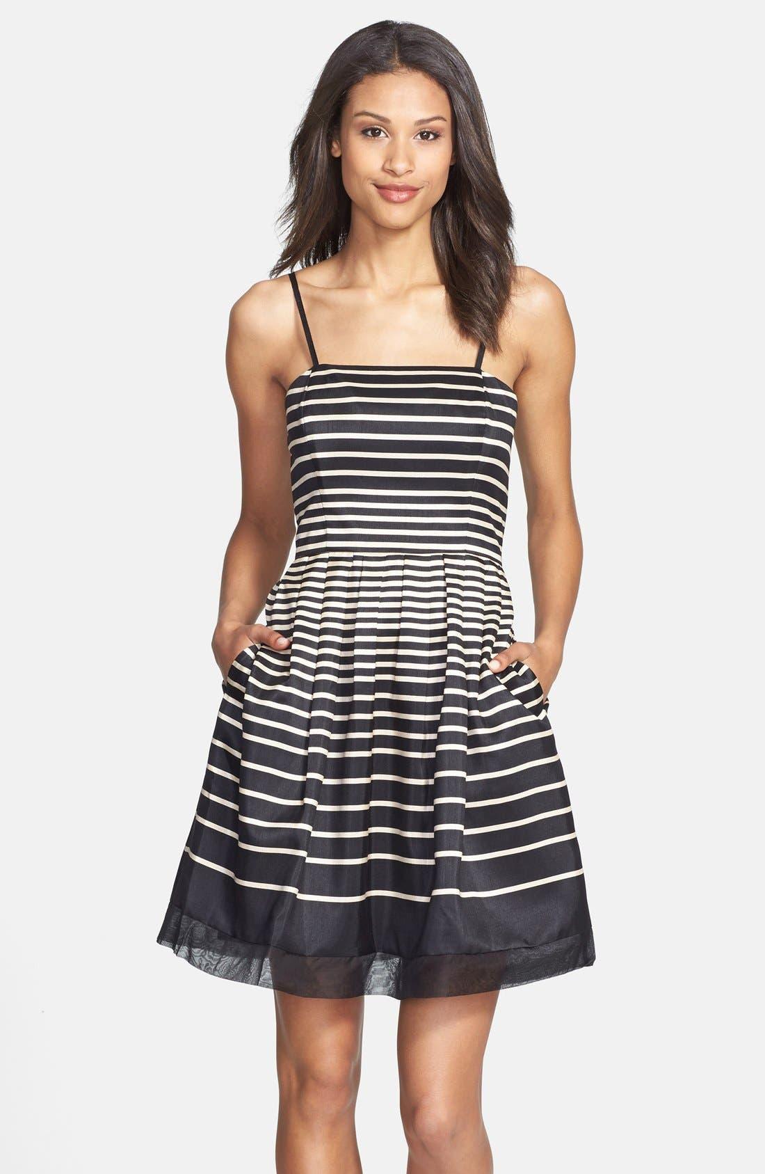 Alternate Image 1 Selected - Taylor Dresses Stripe Shantung Fit & Flare Dress