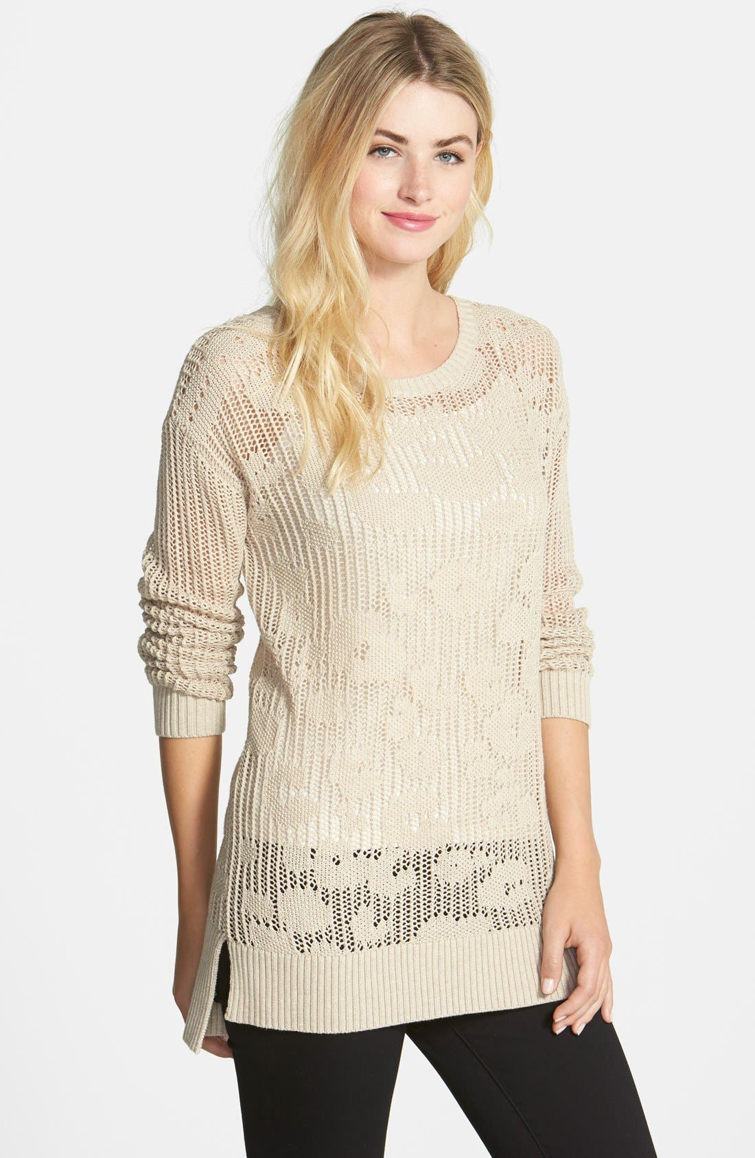Main Image - Two by Vince Camuto Leopard Pointelle Crewneck Sweater