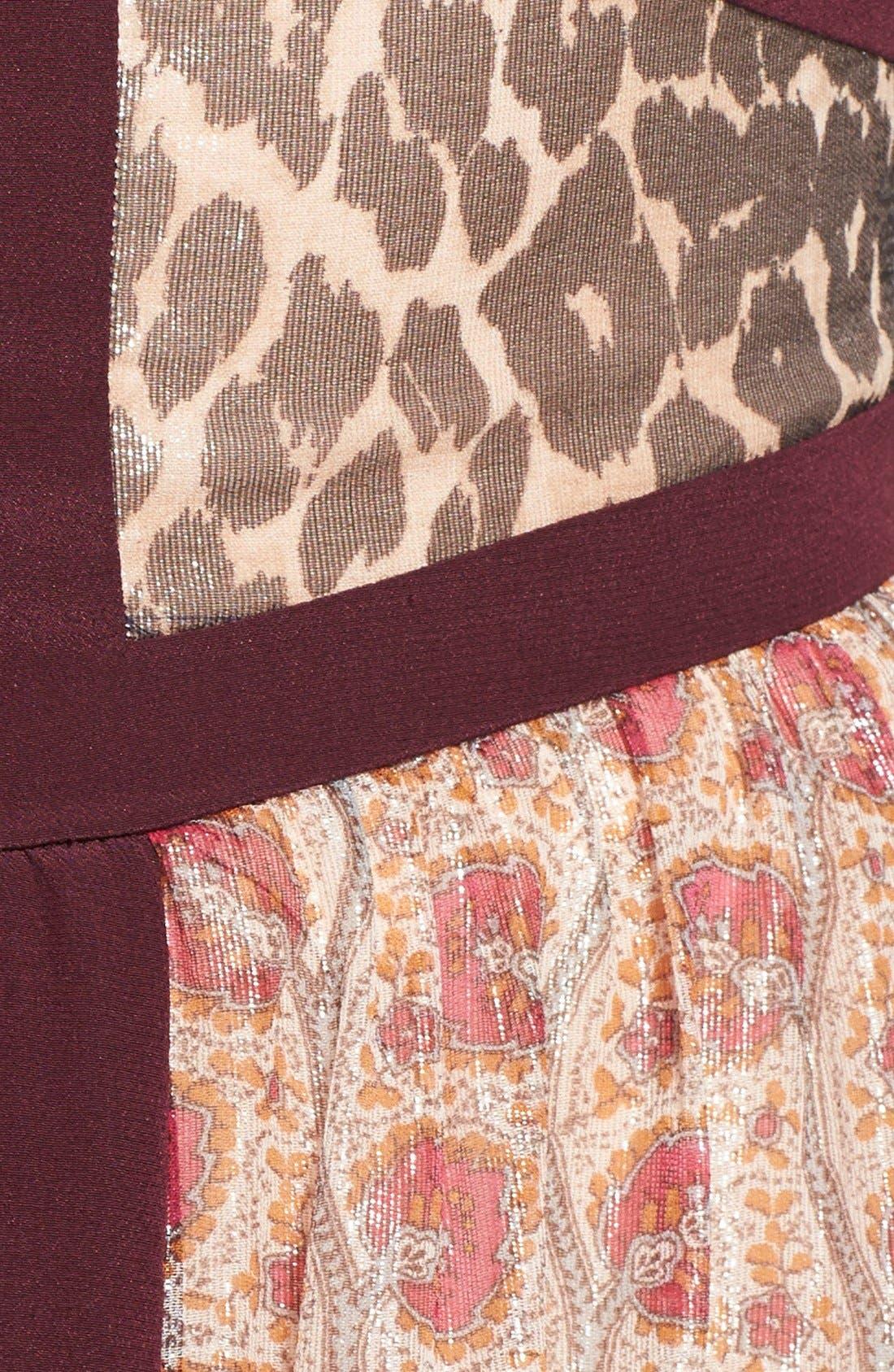 Alternate Image 3  - Tamara Mellon Banded Metallic Silk Blend Georgette Gown