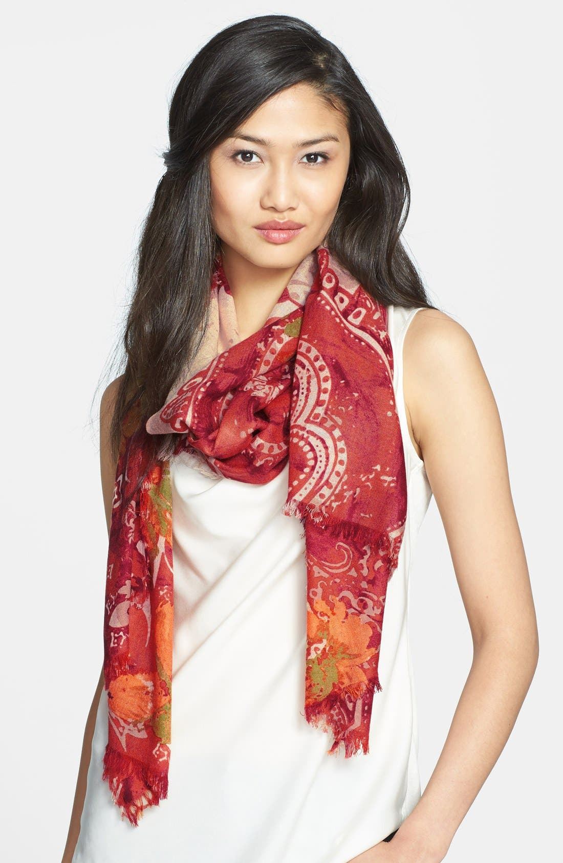 Alternate Image 1 Selected - Nordstrom 'Baroque Floral' Wool Scarf