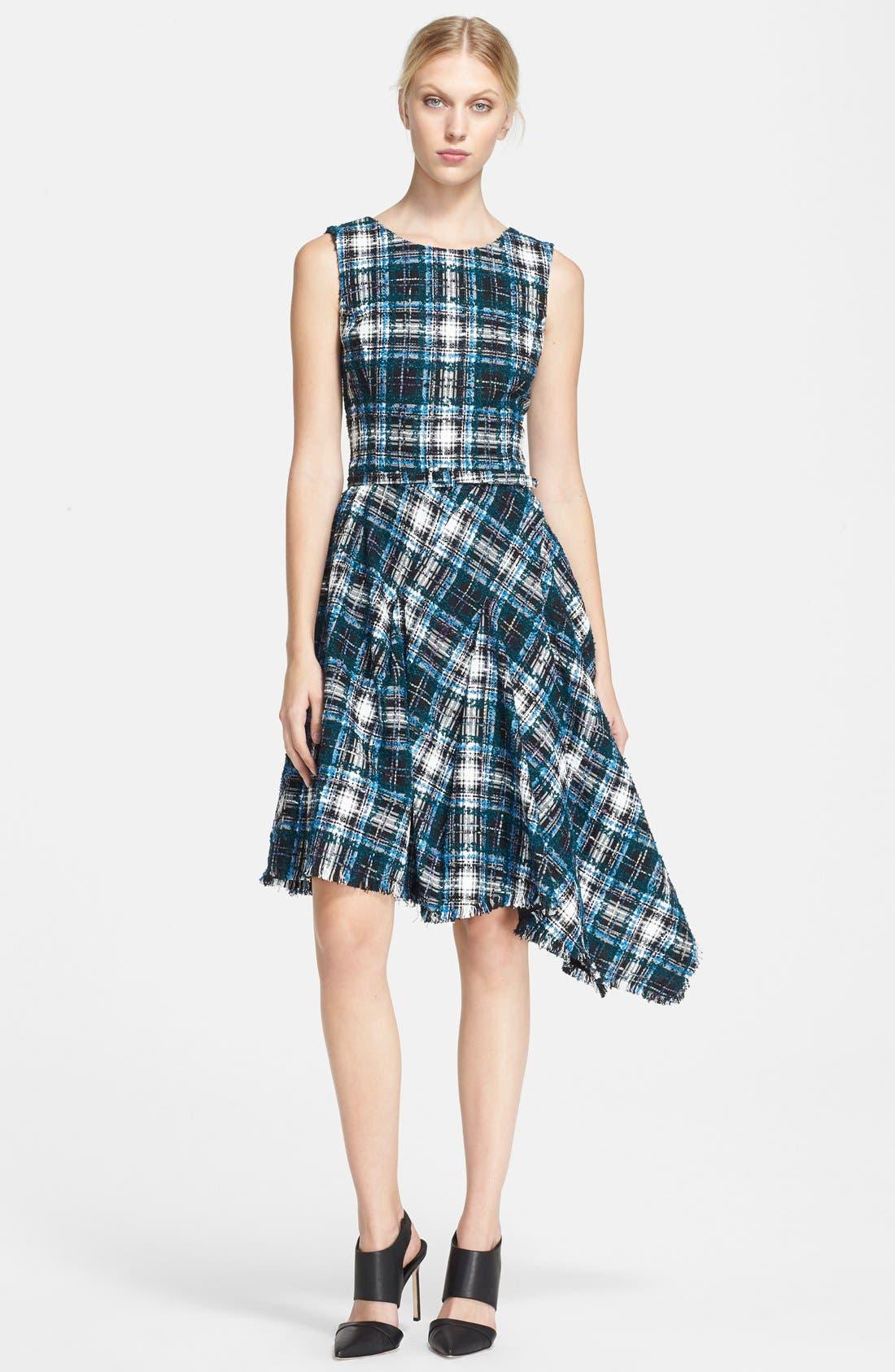 Main Image - Oscar de la Renta Asymmetrical Tweed Dress