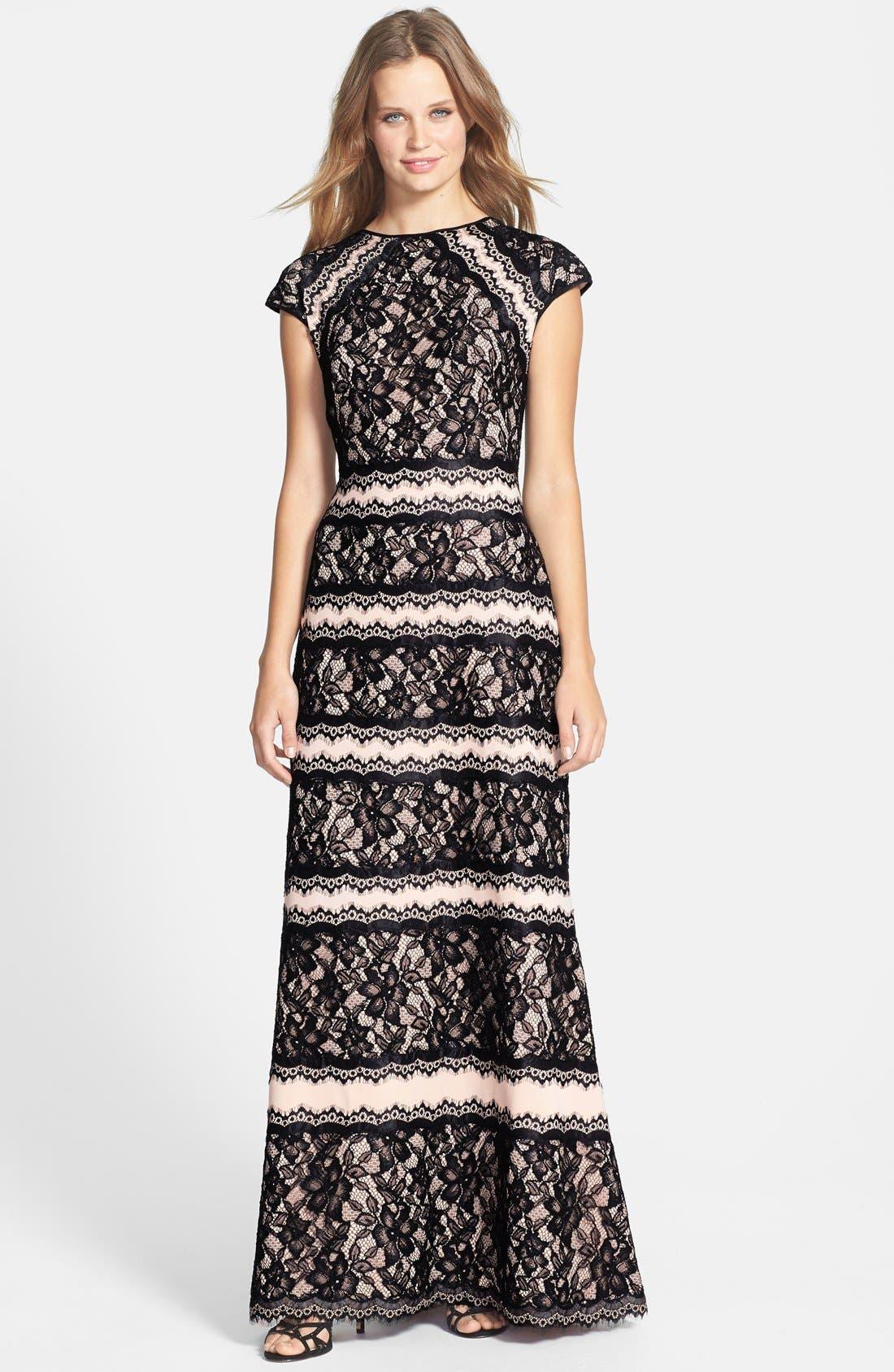 Main Image - Tadashi Shoji Lace Embellished Neoprene Gown