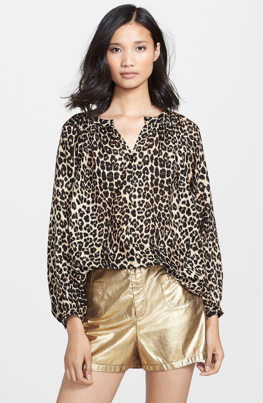Main Image - Tamara Mellon Leopard Print Peasant Top