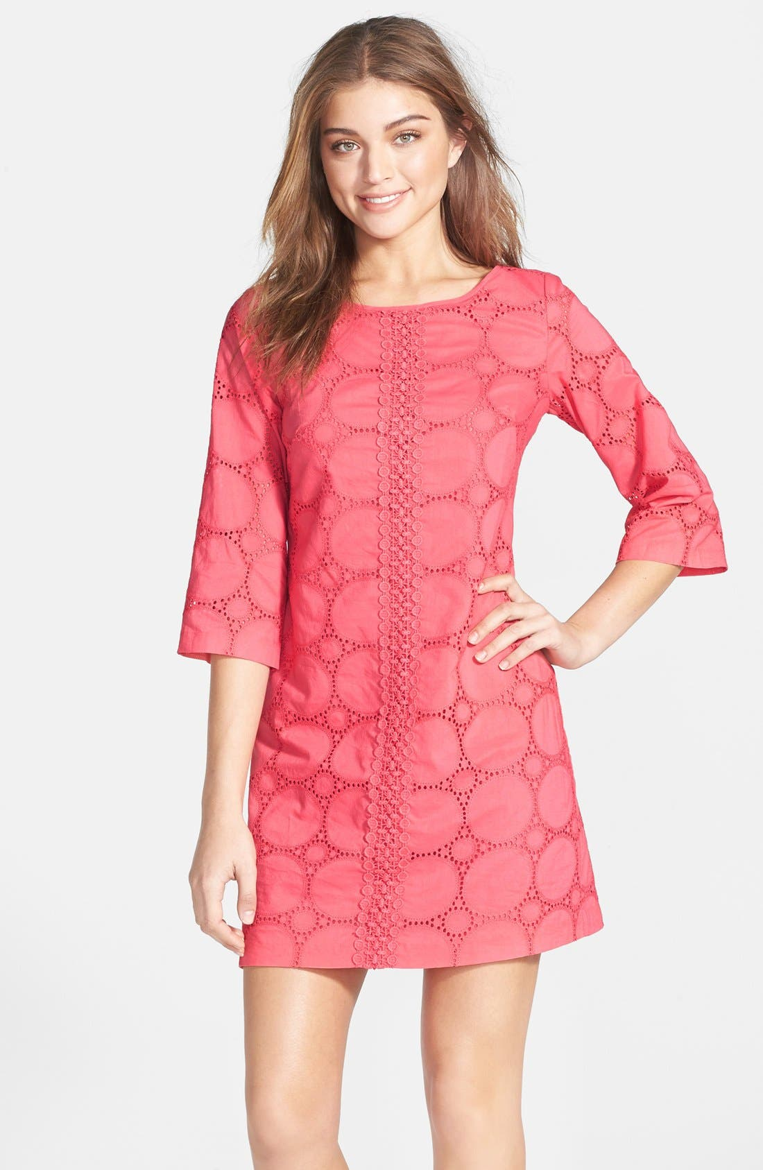 Main Image - Eliza J Cotton Lace Tunic Dress (Petite)